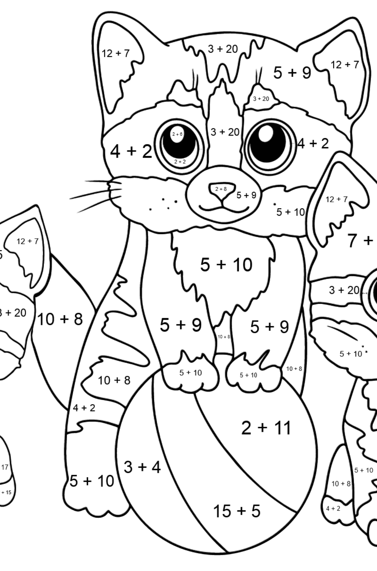 Coloring Page - Three Kittens are Playing Together with a Ball  - Math Coloring - Addition for Kids