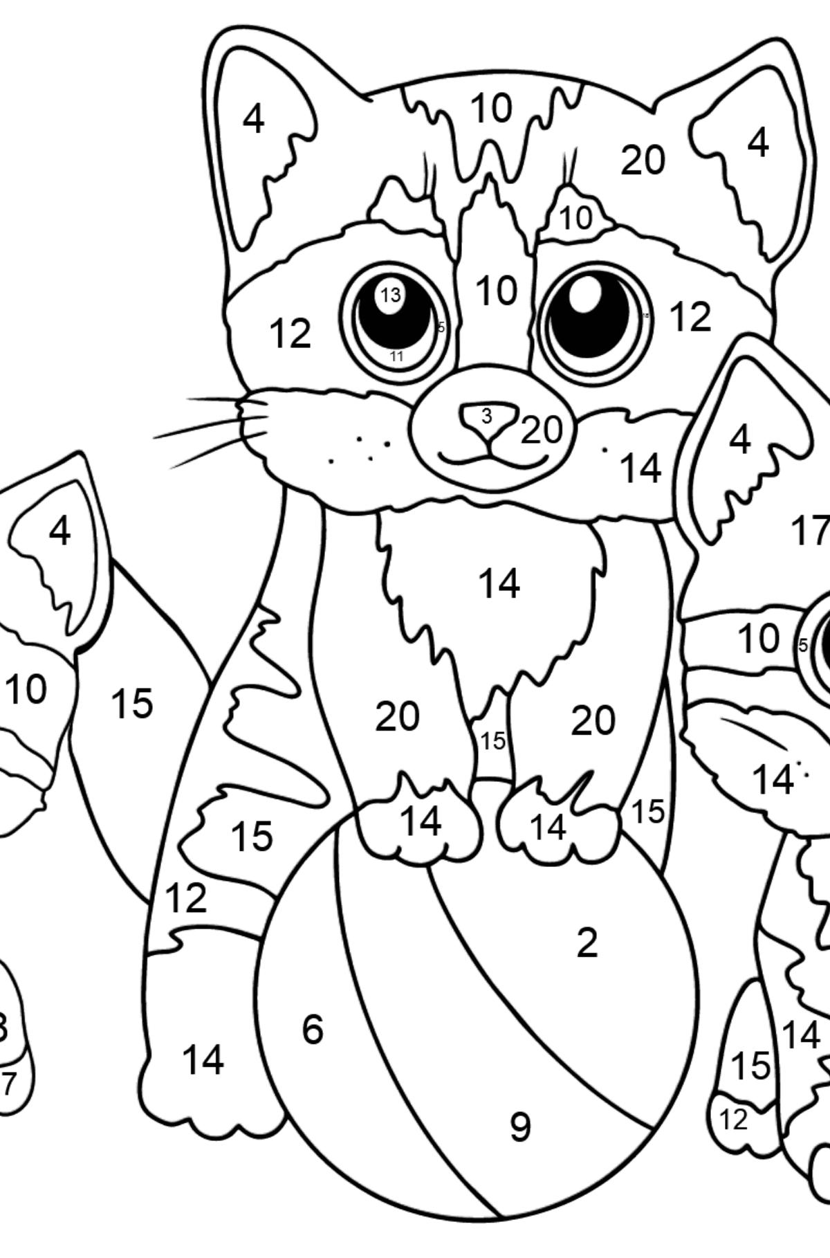 Bild zum Ausmalen - Drei Kätzchen spielen zusammen mit einem Ball  - Malen nach Zahlen für Kinder