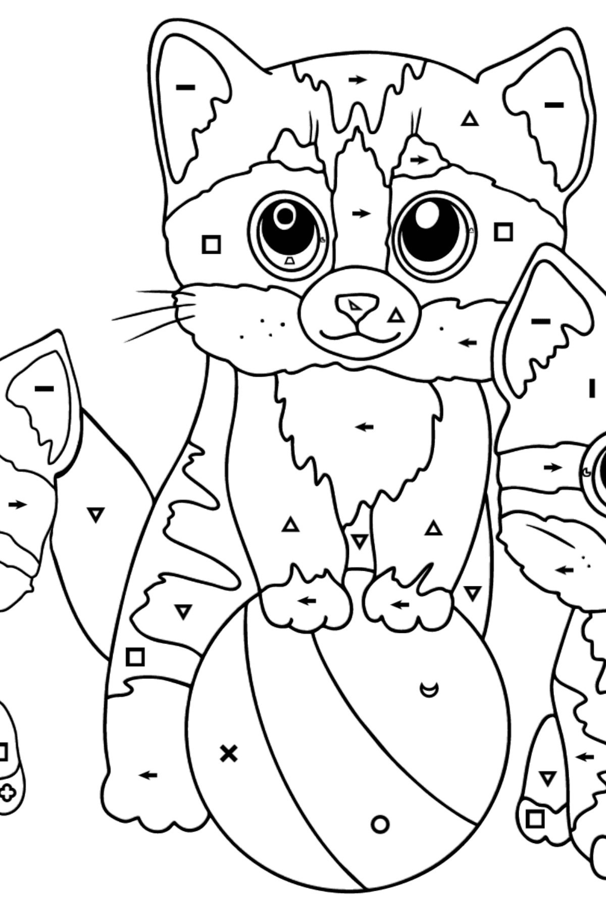 Coloring Page - Three Kittens are Playing Together with a Ball  - Coloring by Symbols and Geometric Shapes for Kids