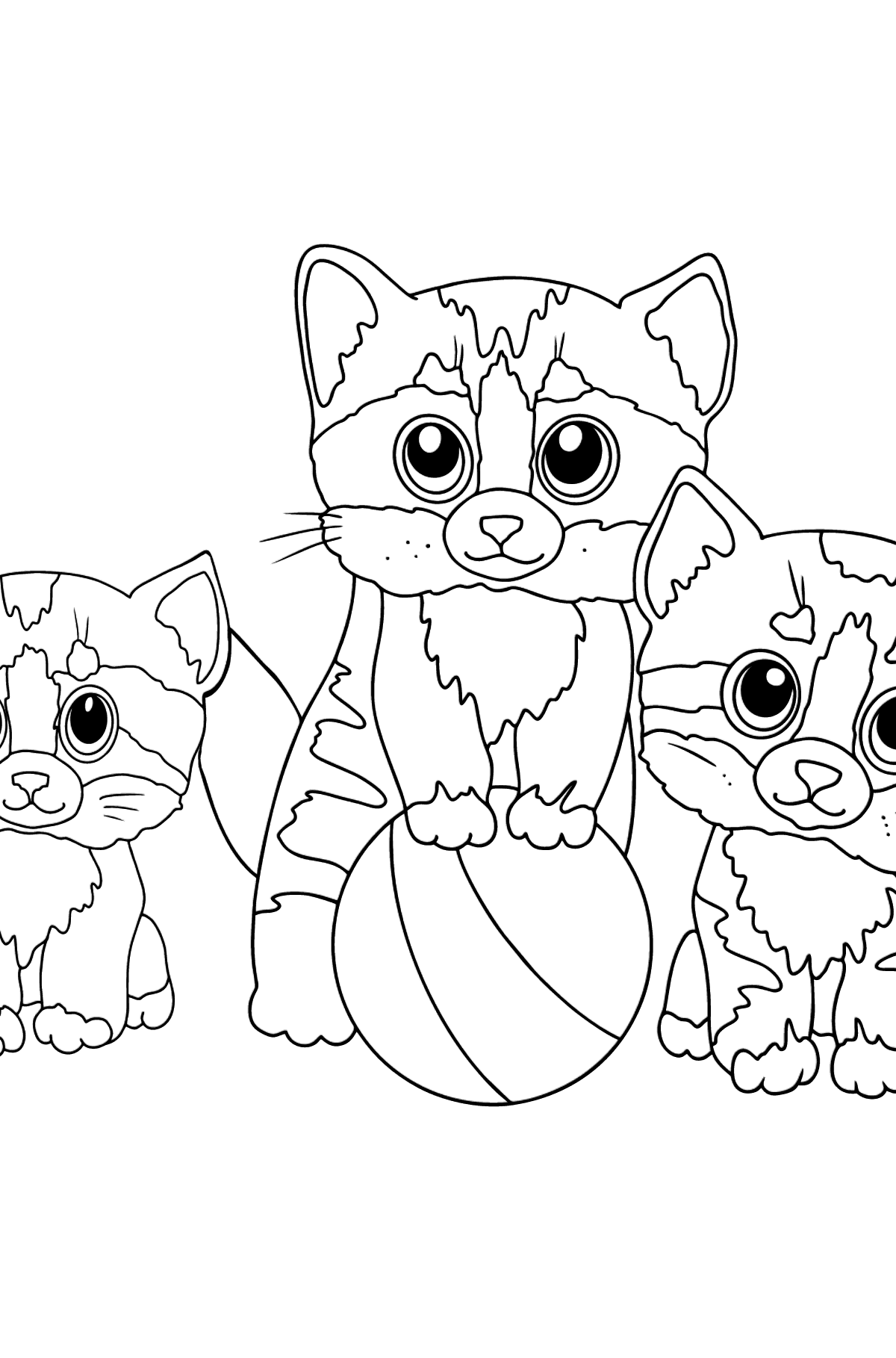 Coloring Page - Three Kittens are Playing Together with a Ball  - Coloring Pages for Kids