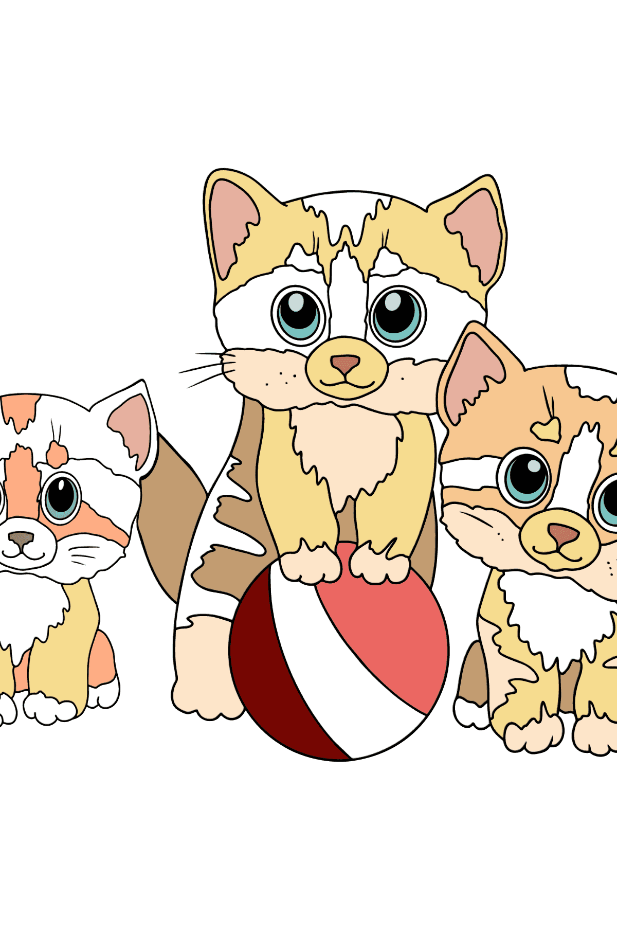 Coloriage - Trois chatons jouent ensemble à la balle  - Coloriages pour les Enfants
