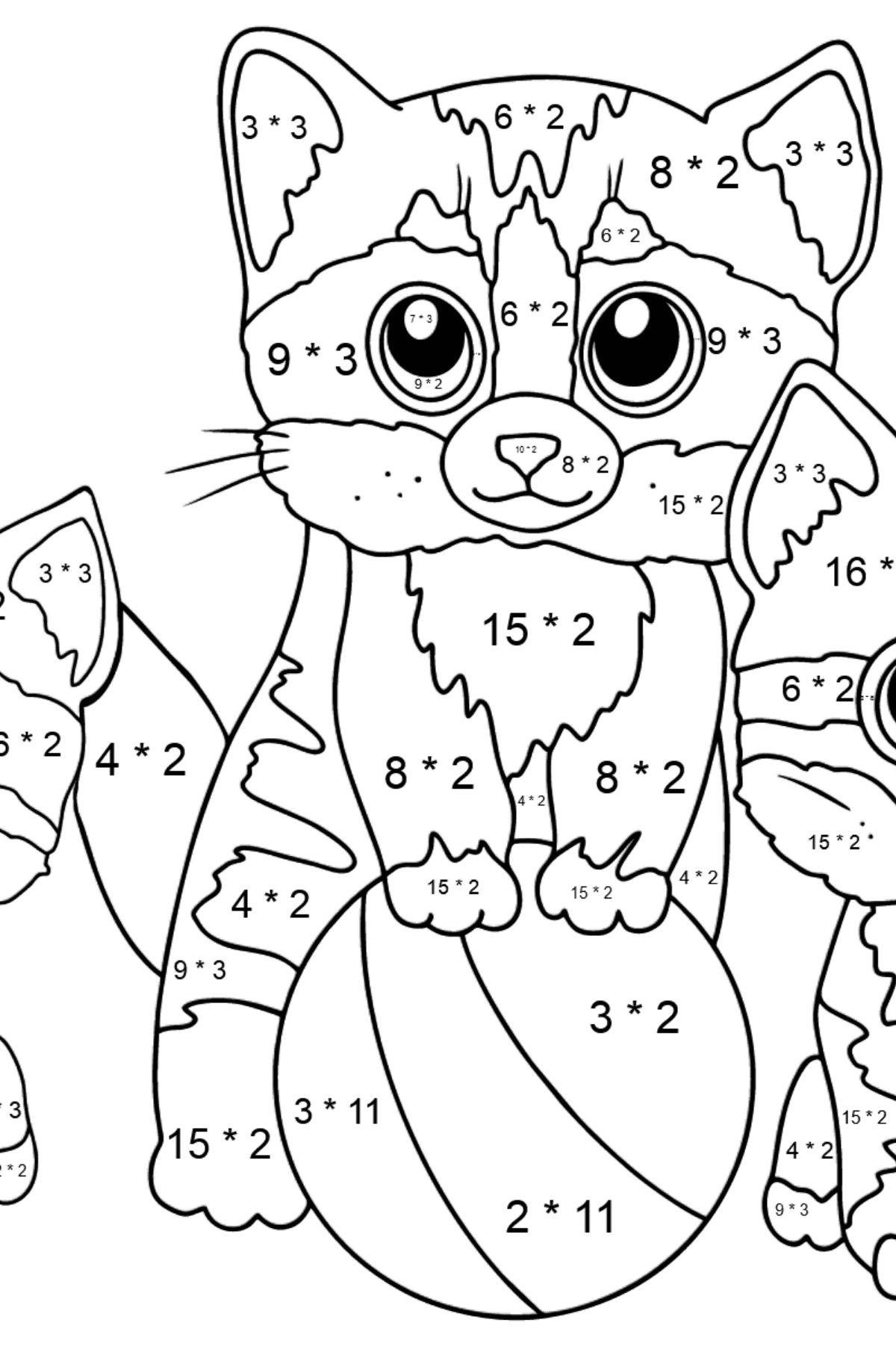 Coloring Page - Three Kittens are Playing Together with a Ball  - Math Coloring - Multiplication for Kids