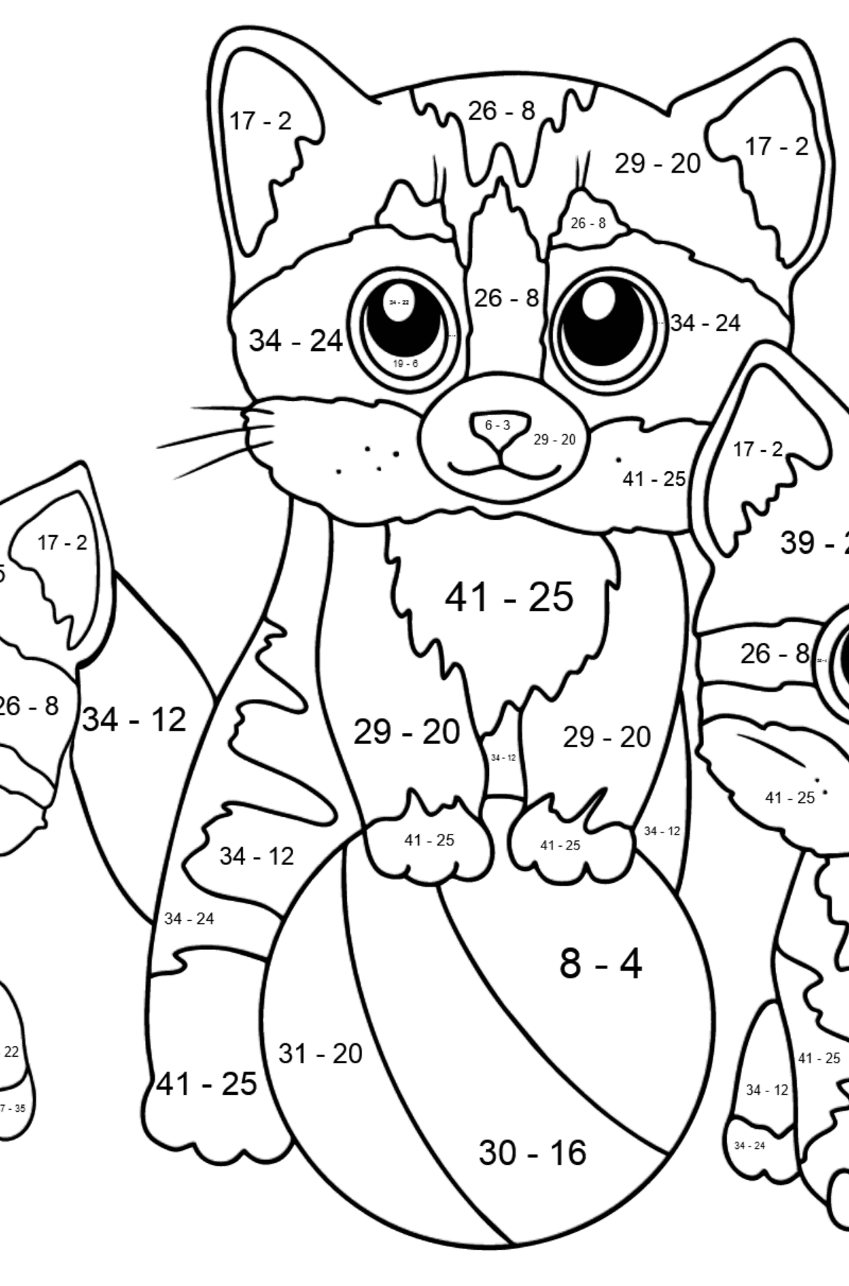 Coloring Page - Three Kittens are Playing Together with a Ball  - Math Coloring - Subtraction for Kids