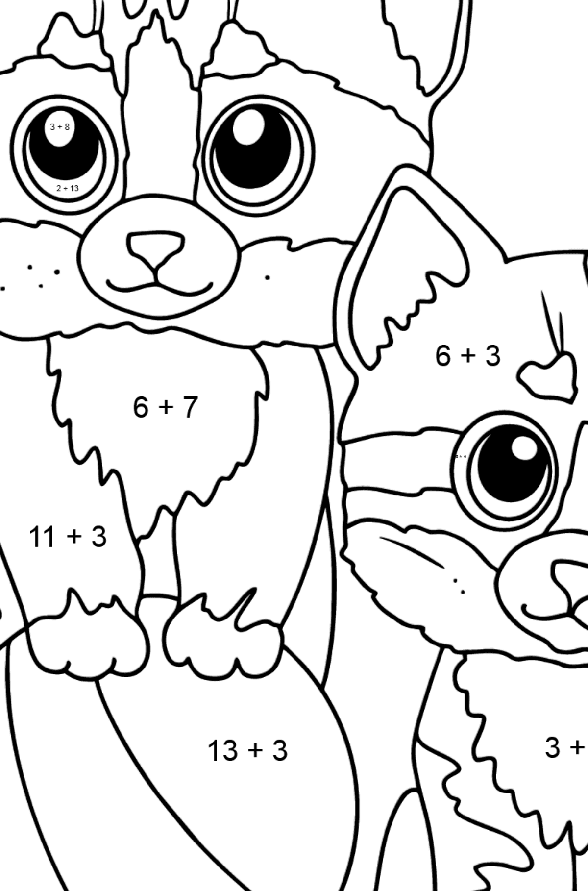 Coloring Page - Two Friendly Kittens Playing with a Ball - Math Coloring - Addition for Kids
