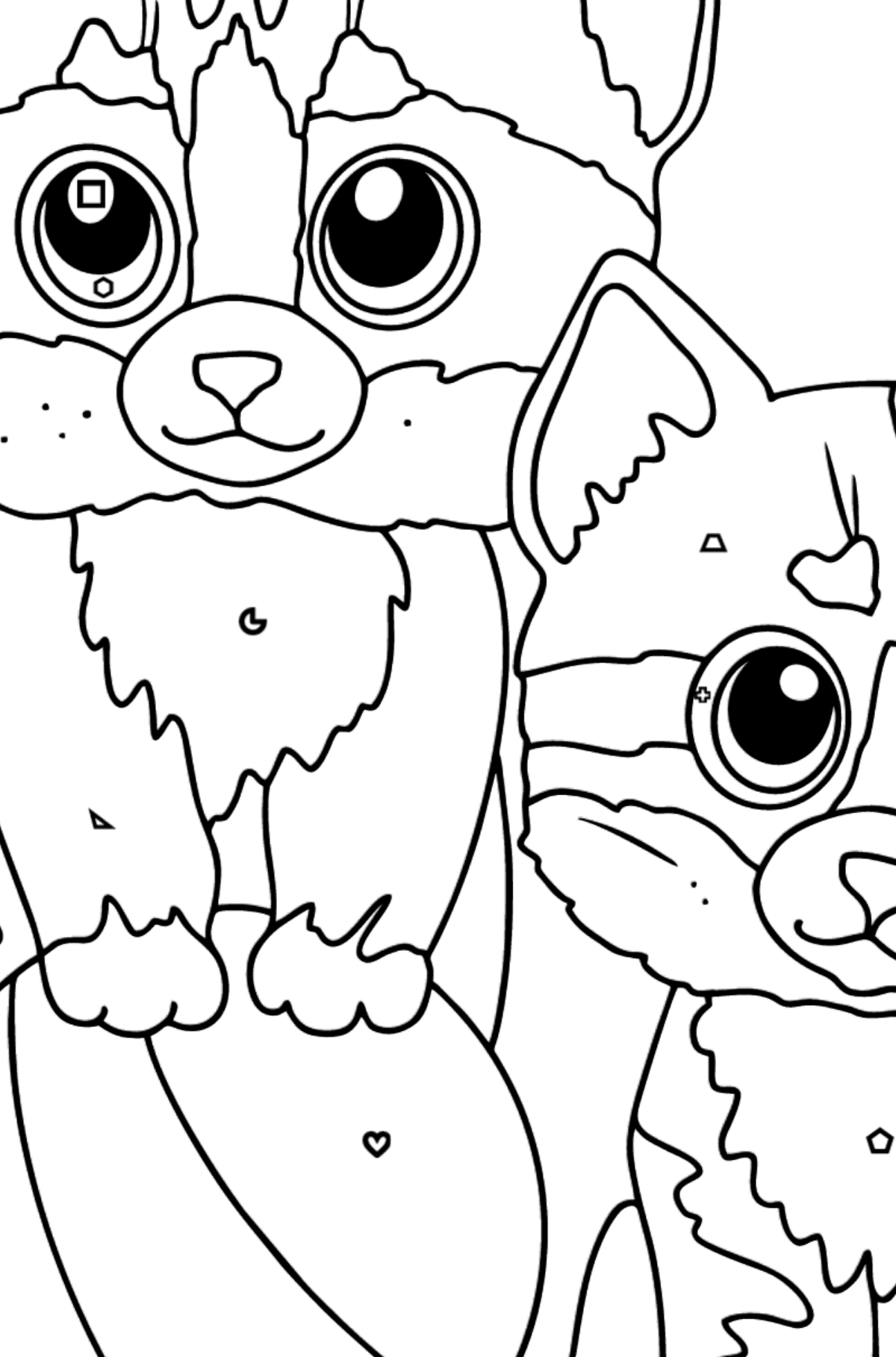 Coloring Page - Two Friendly Kittens Playing with a Ball - Coloring by Geometric Shapes for Kids