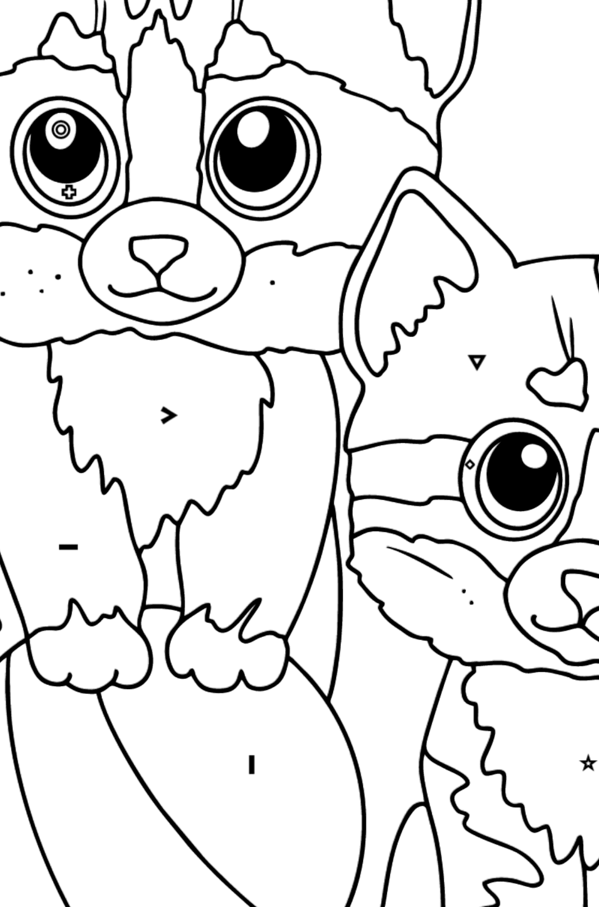 Coloring Page - Two Friendly Kittens Playing with a Ball - Coloring by Symbols and Geometric Shapes for Kids