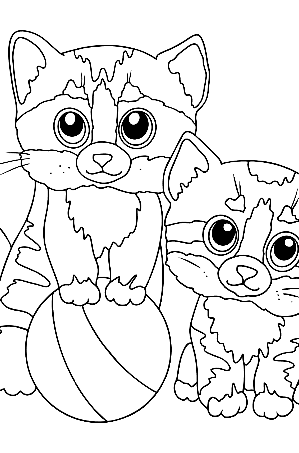 Coloring Page - Two Friendly Kittens Playing with a Ball - Coloring Pages for Kids