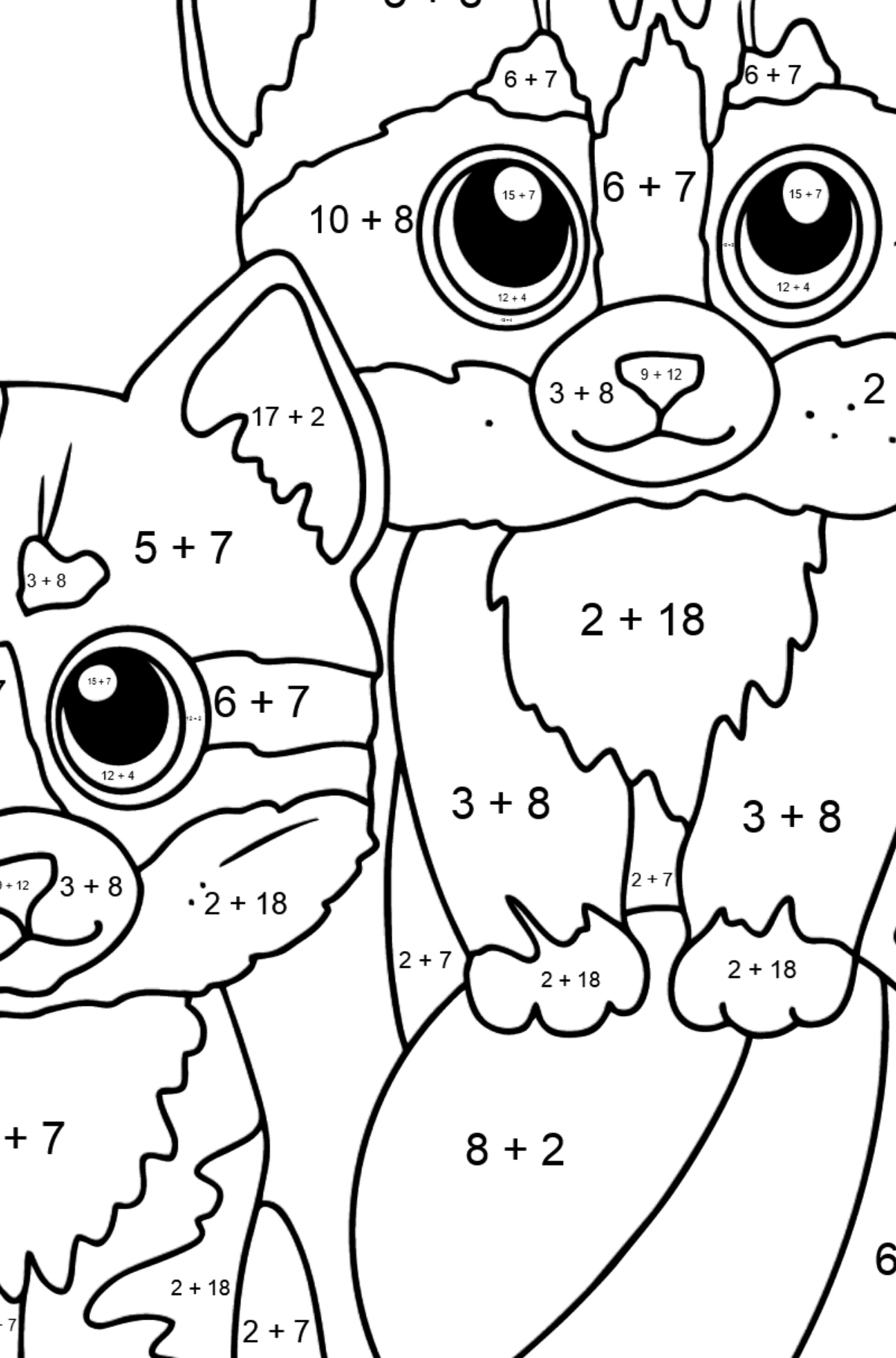 Coloring Page - Two Kittens with a Ball - Math Coloring - Addition for Kids