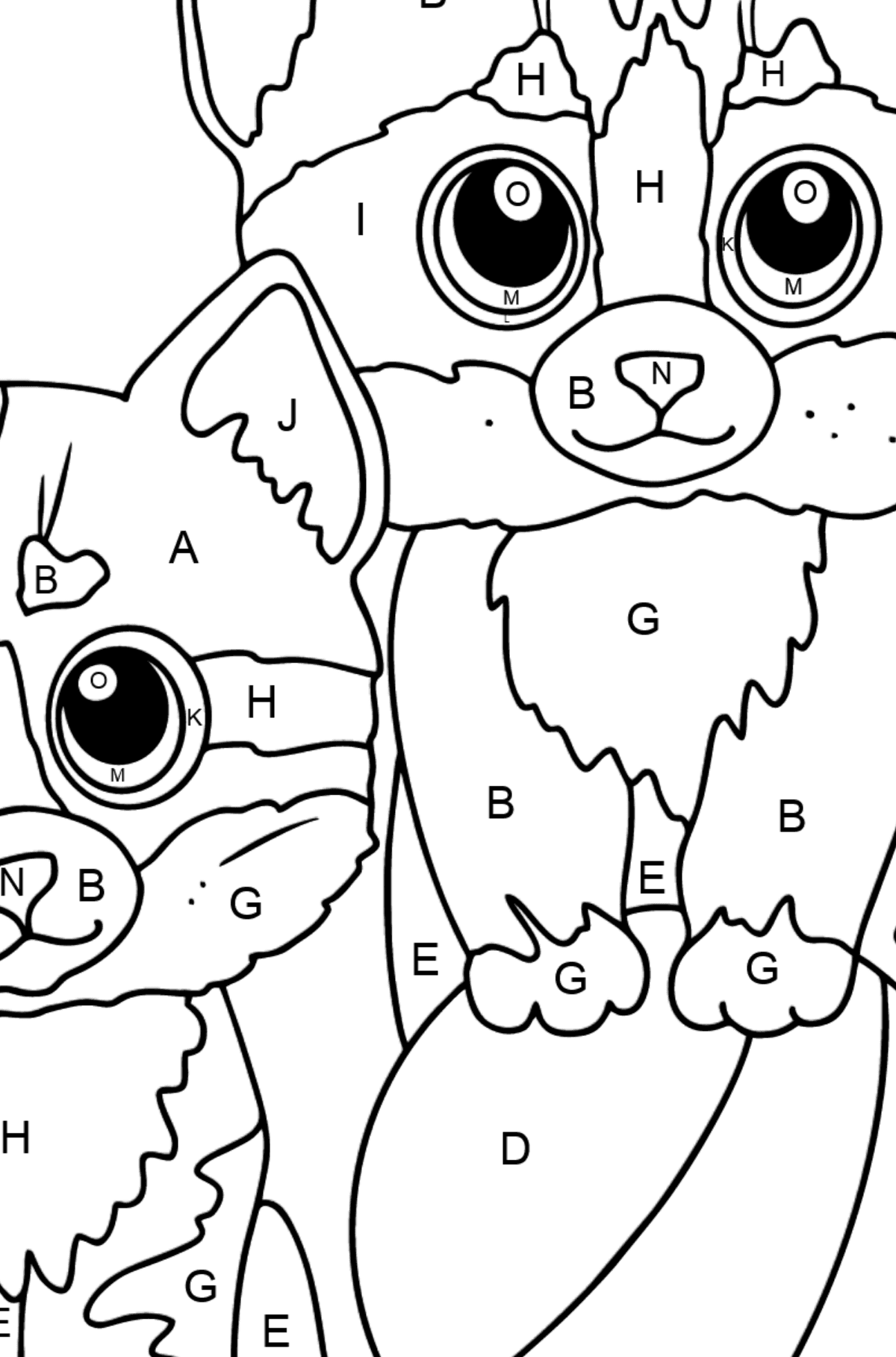 Coloring Page - Two Kittens with a Ball - Coloring by Letters for Kids