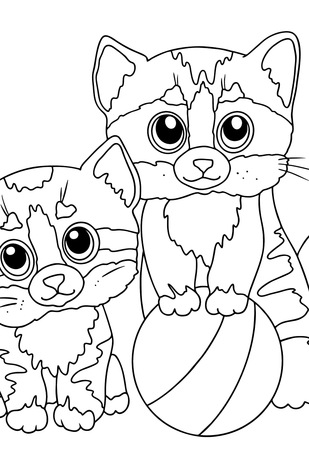 Coloring Page - Two Kittens with a Ball - Coloring Pages for Kids