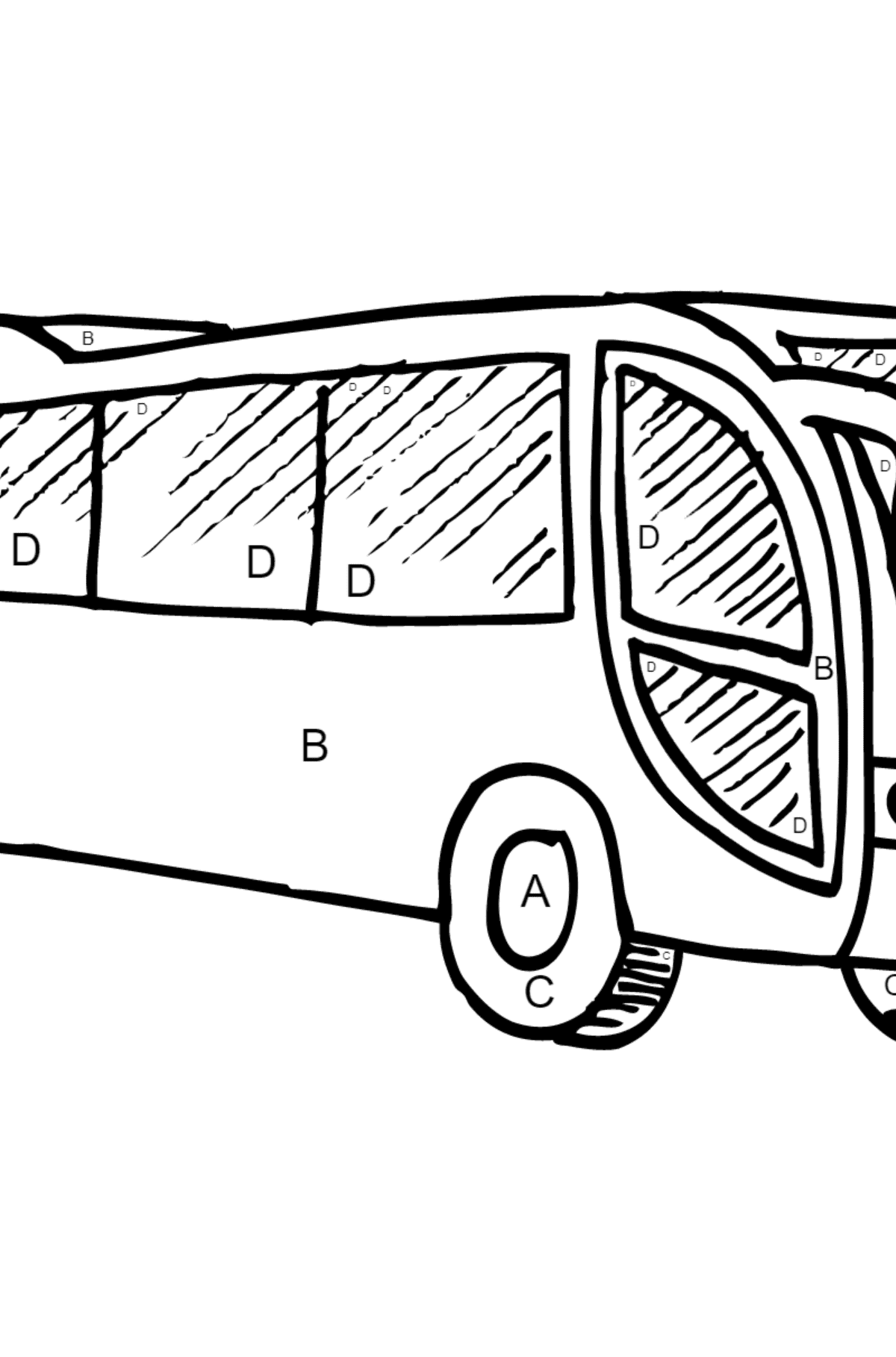 Coloring Page - A Bus is Having Rest - Coloring by Letters for Children