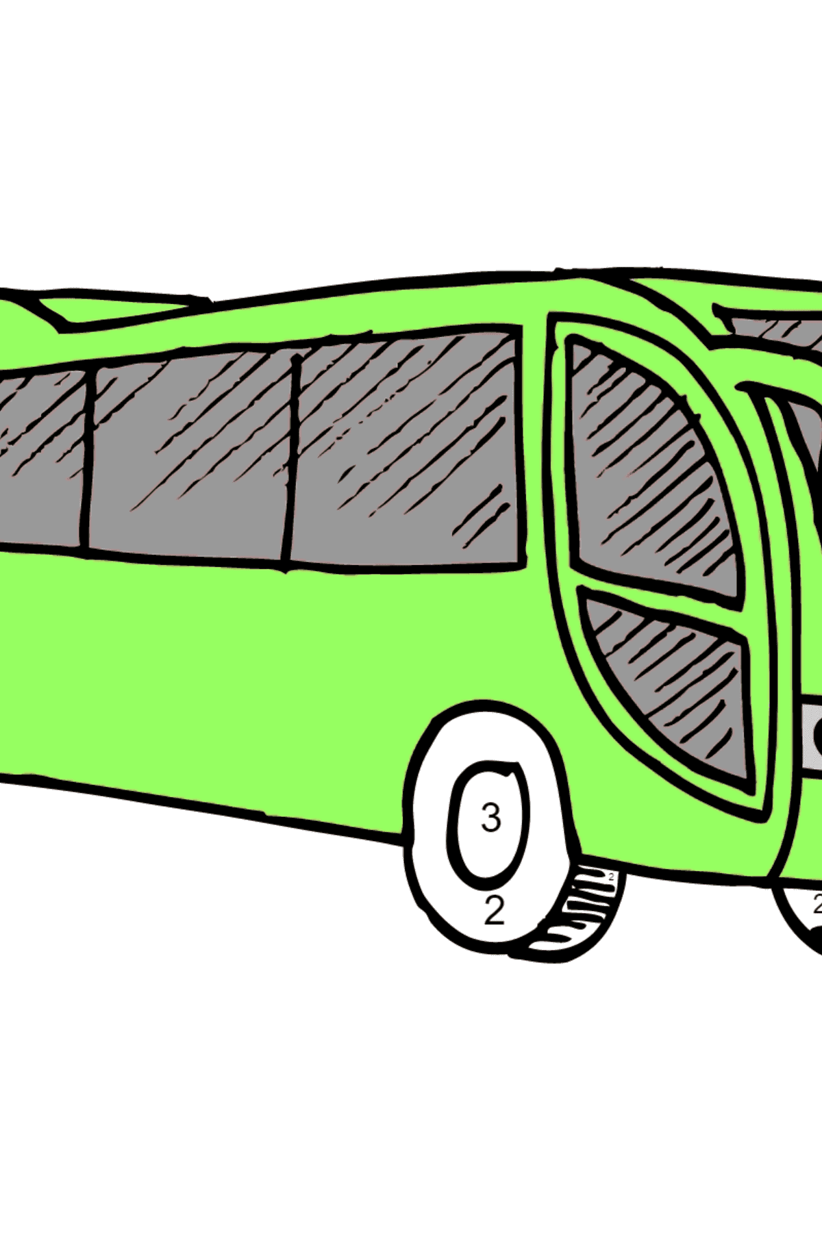 Coloring Page - A Bus is Having Rest - Coloring by Numbers for Kids