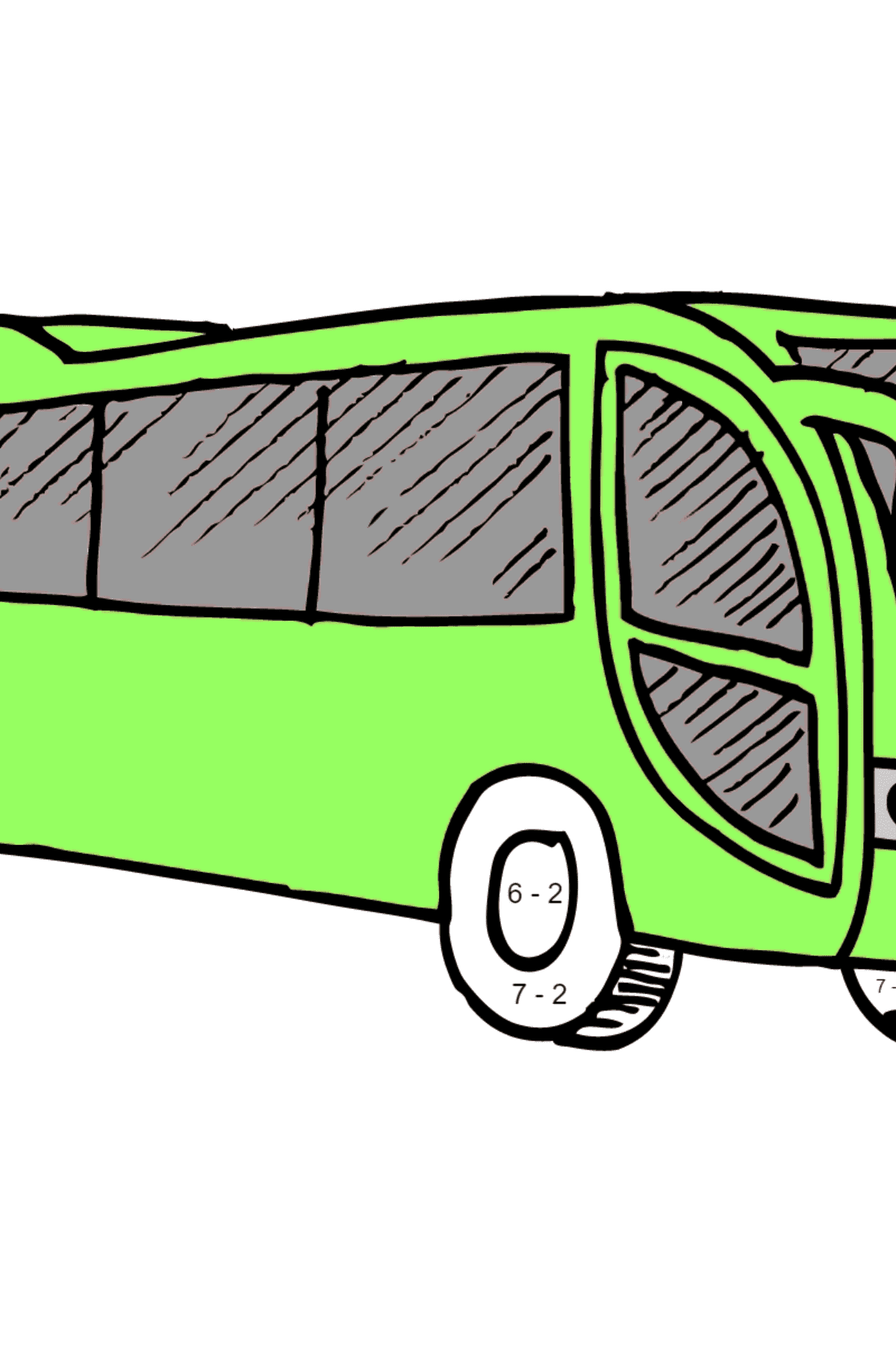 Coloring Page - A Bus is Having Rest - Math Coloring - Subtraction for Kids