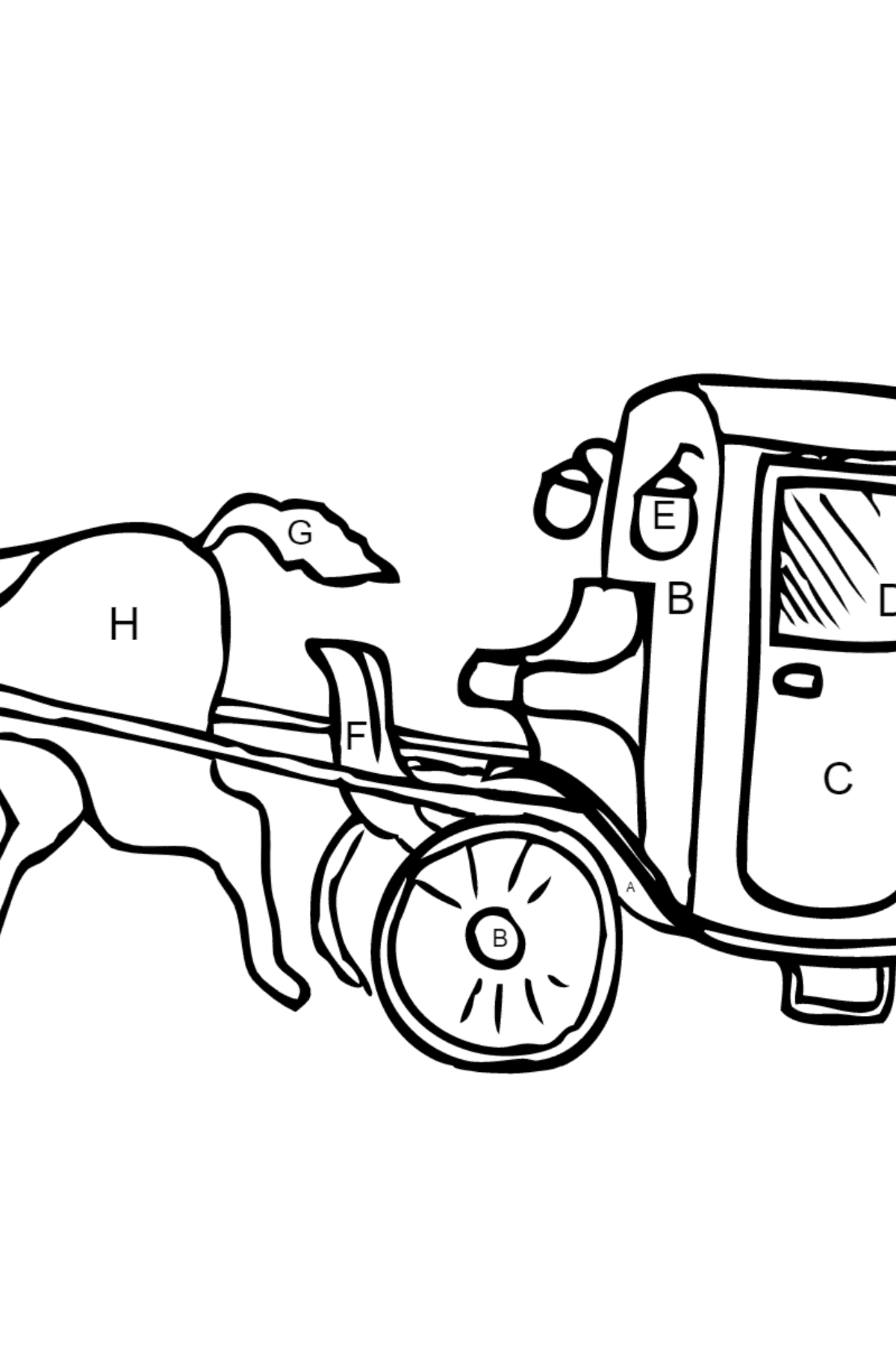 Coloring Page - A Cab - Coloring by Letters for Kids