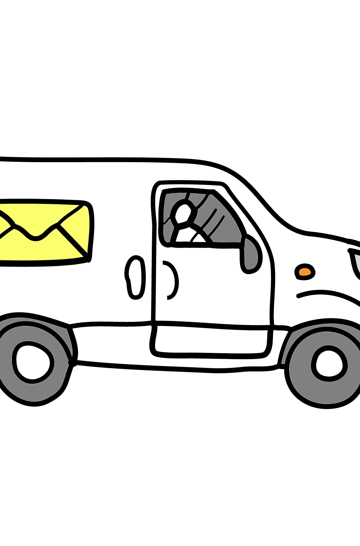 Coloring Page - A Car is Carrying Mail - Coloring Pages for Children