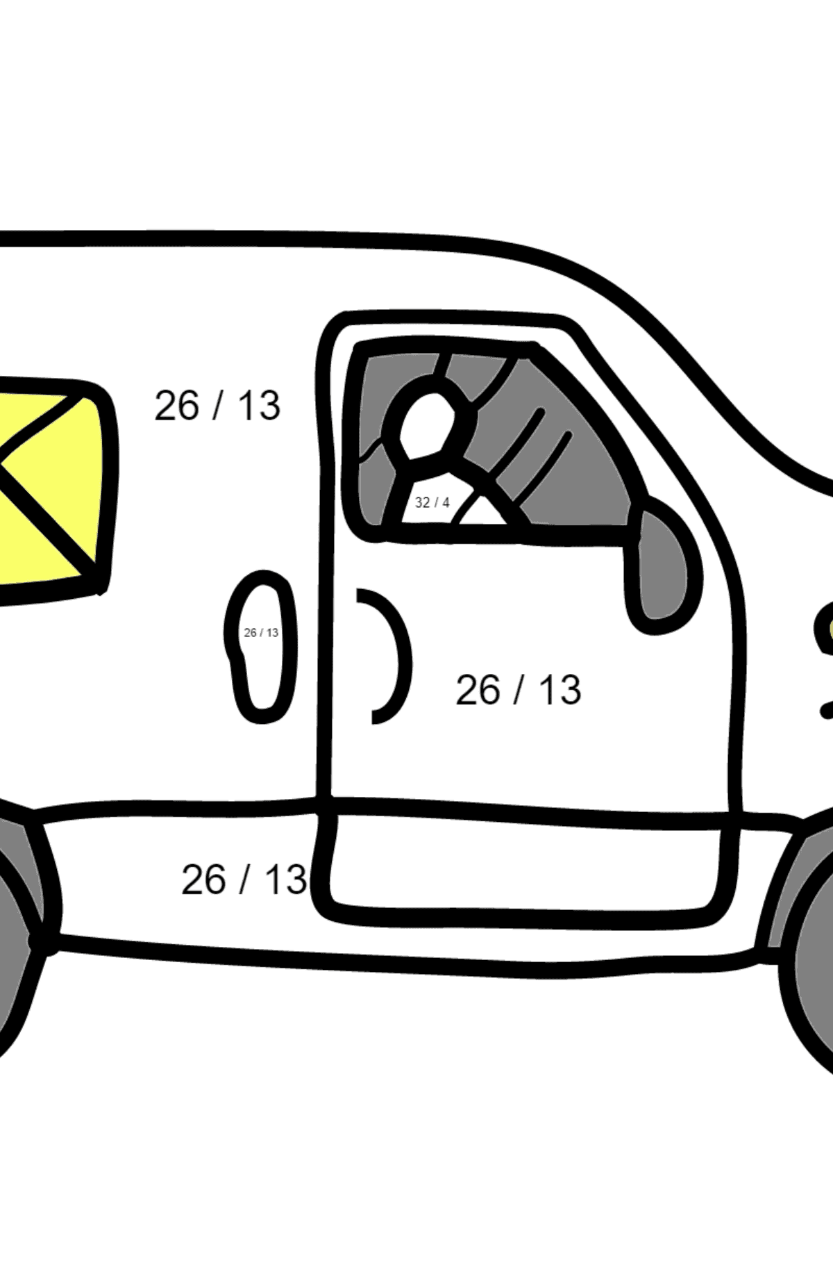 Coloring Page - A Car is Carrying Mail - Math Coloring - Division for Kids