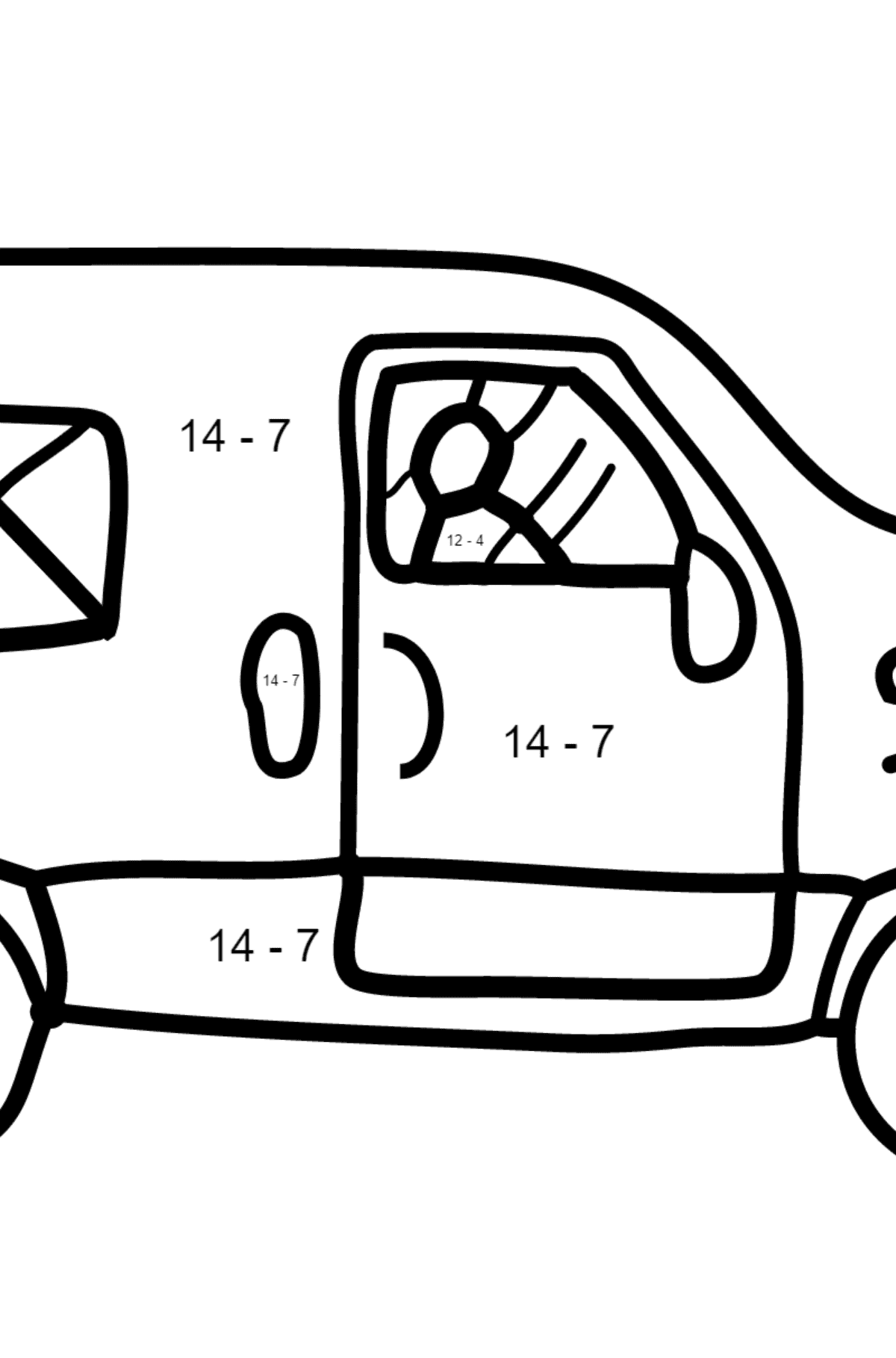 Coloring Page - A Car is Carrying Mail - Math Coloring - Subtraction for Children
