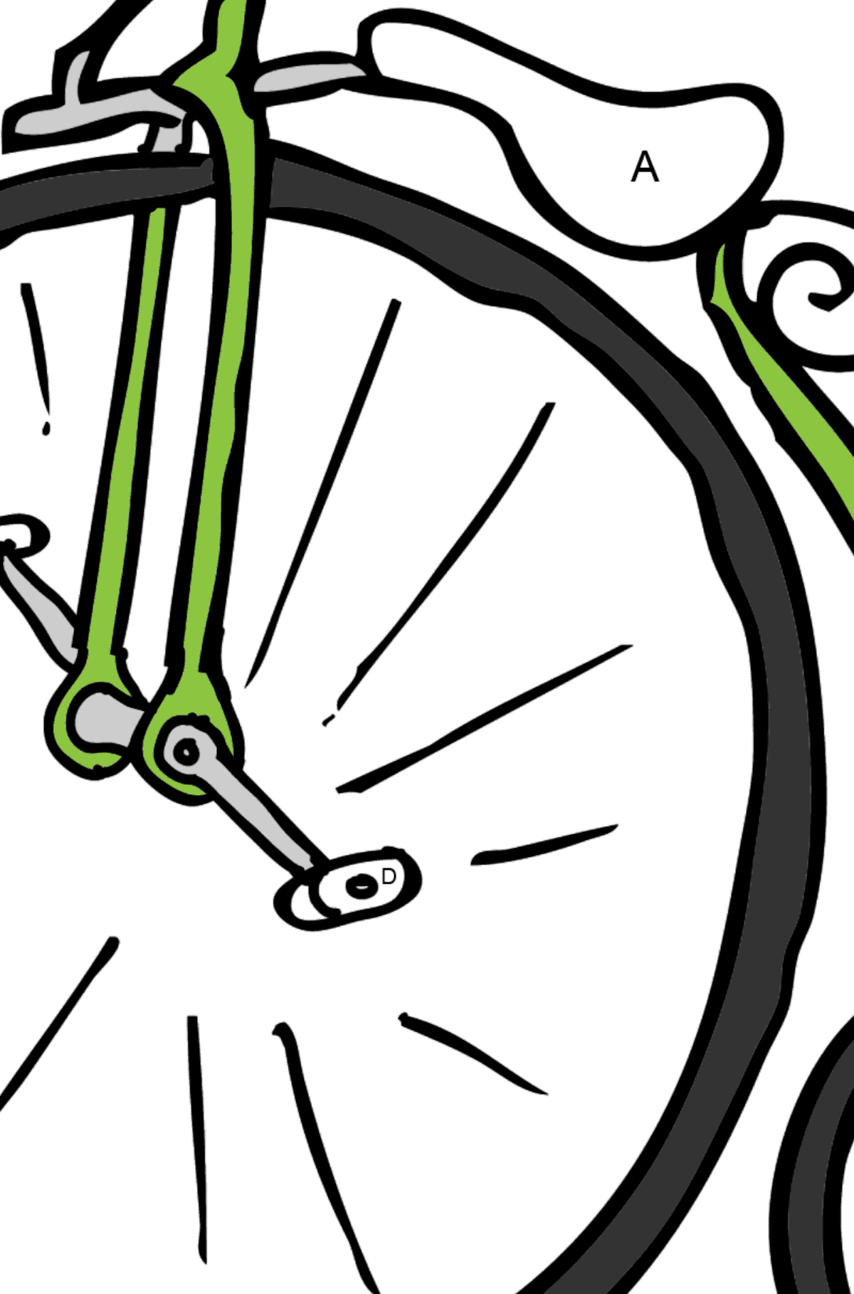 Coloring Page - A High-Wheel Cycle – Unicycle - Coloring by Letters for Kids