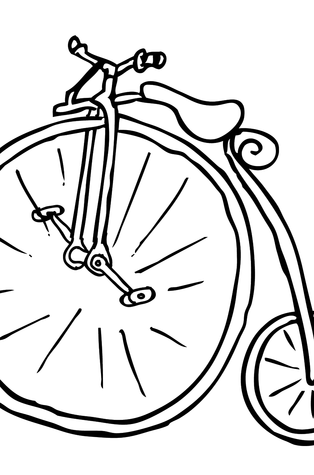 Coloring Page - A High-Wheel Cycle – Unicycle - Coloring Pages for Kids
