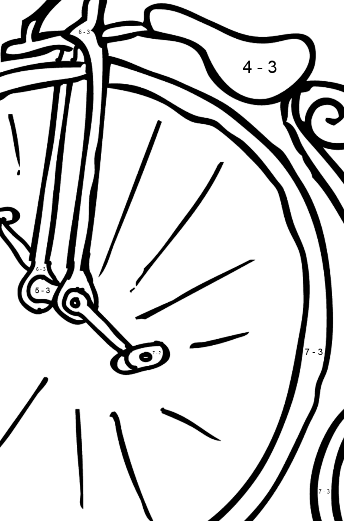 Coloring Page - A High-Wheel Cycle – Unicycle - Math Coloring - Subtraction for Kids