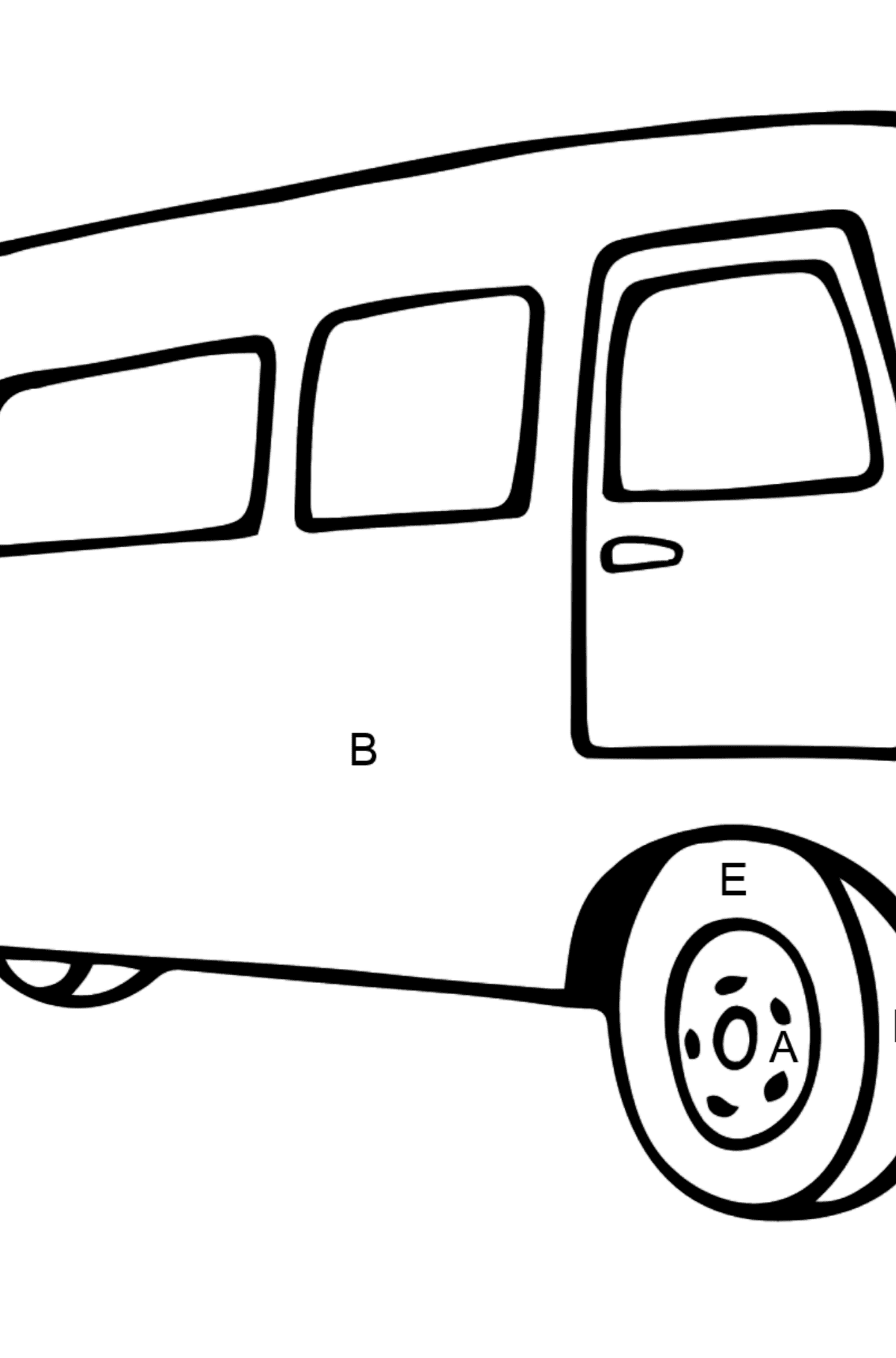 Simple Coloring Page - A Joyful Bus - Coloring by Letters for Kids