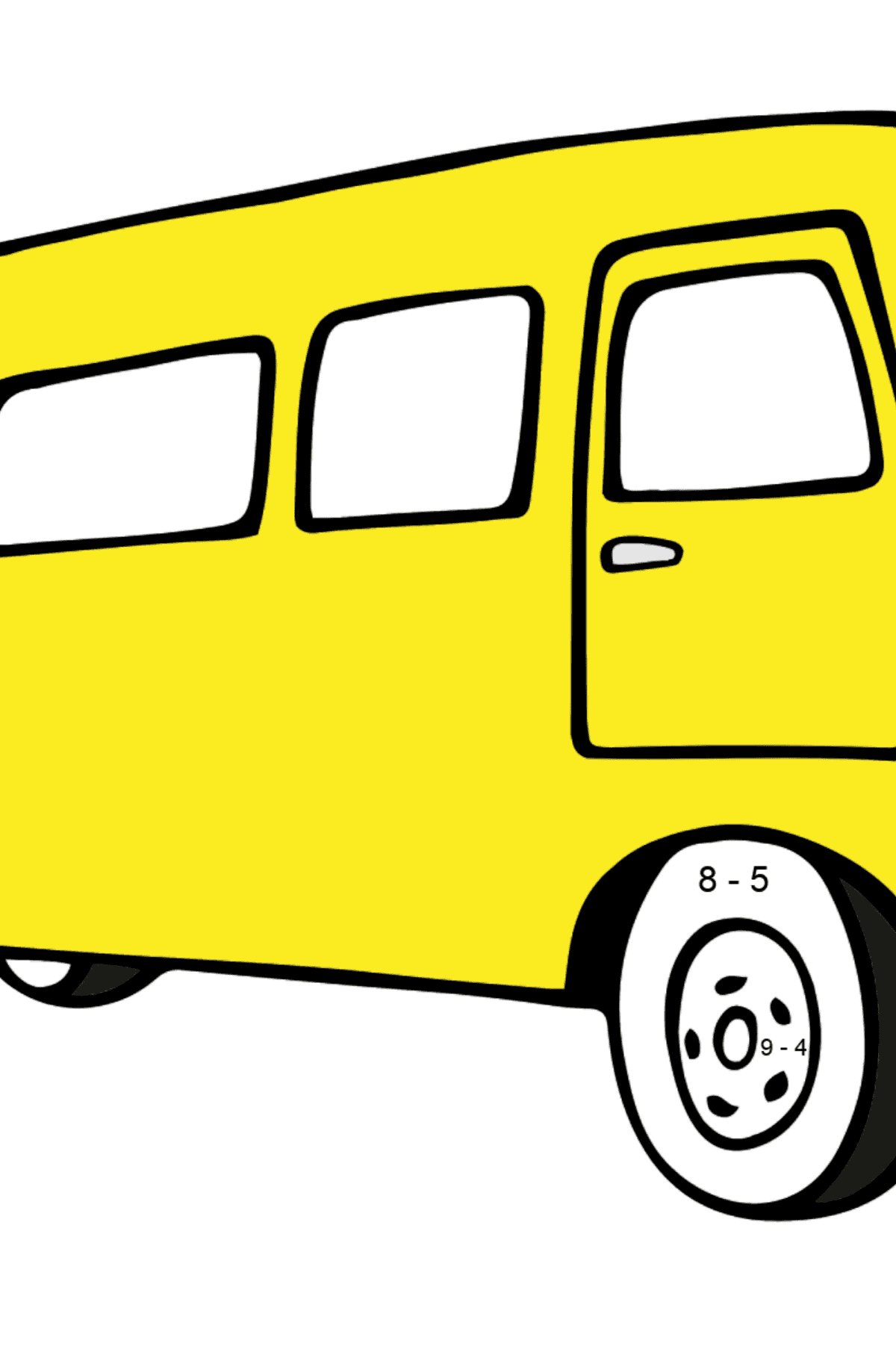 Simple Coloring Page - A Joyful Bus - Math Coloring - Subtraction for Kids