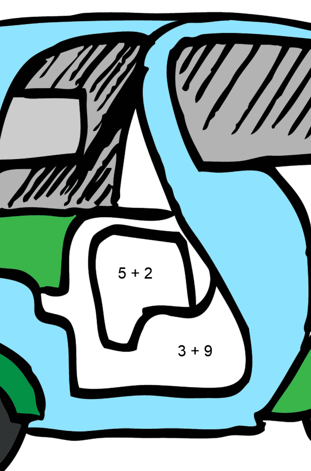 Coloring Page - A Moped is Carrying Mail - Math Coloring - Addition for Kids