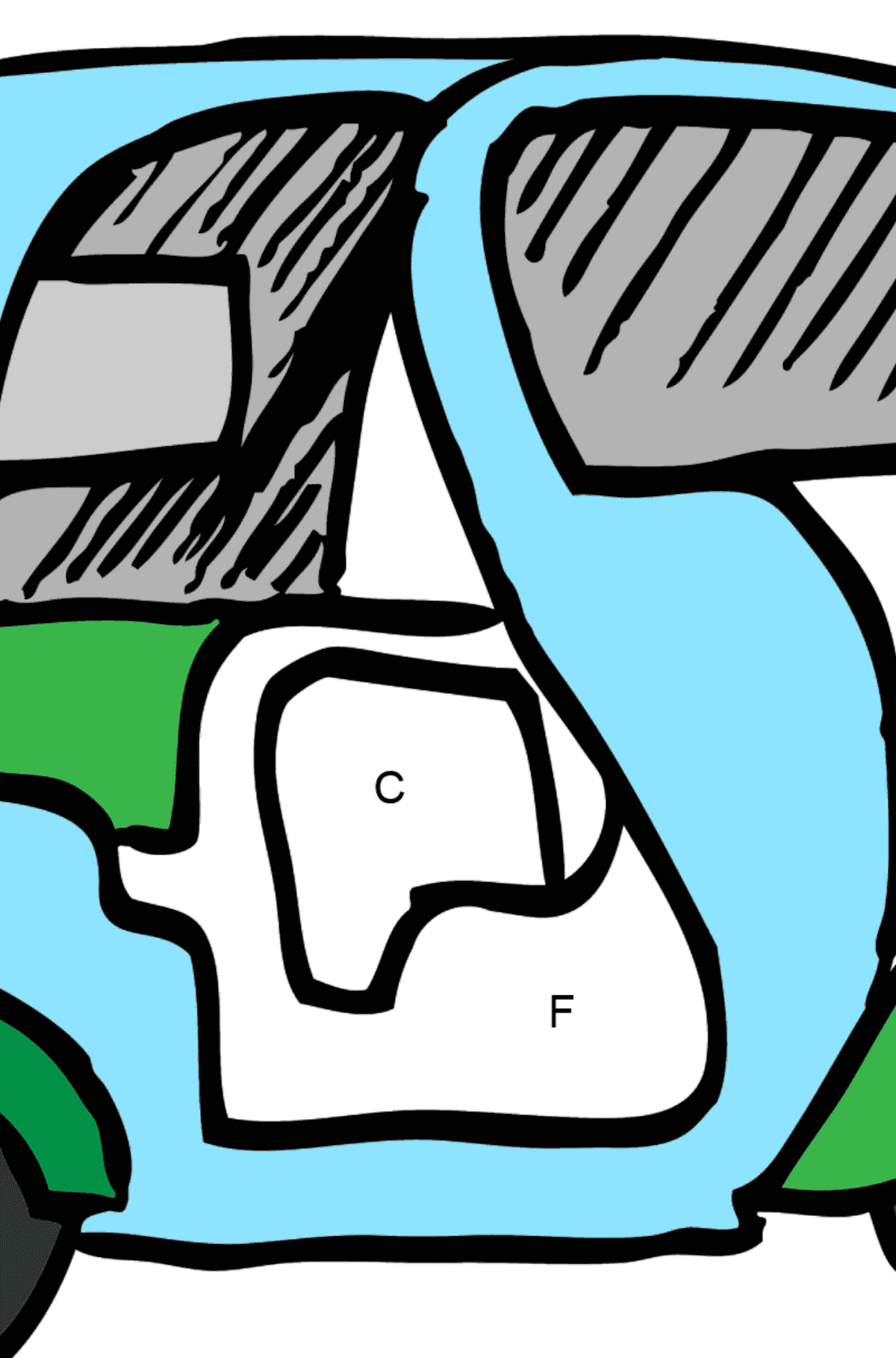 Coloring Page - A Moped is Carrying Mail - Coloring by Letters for Kids