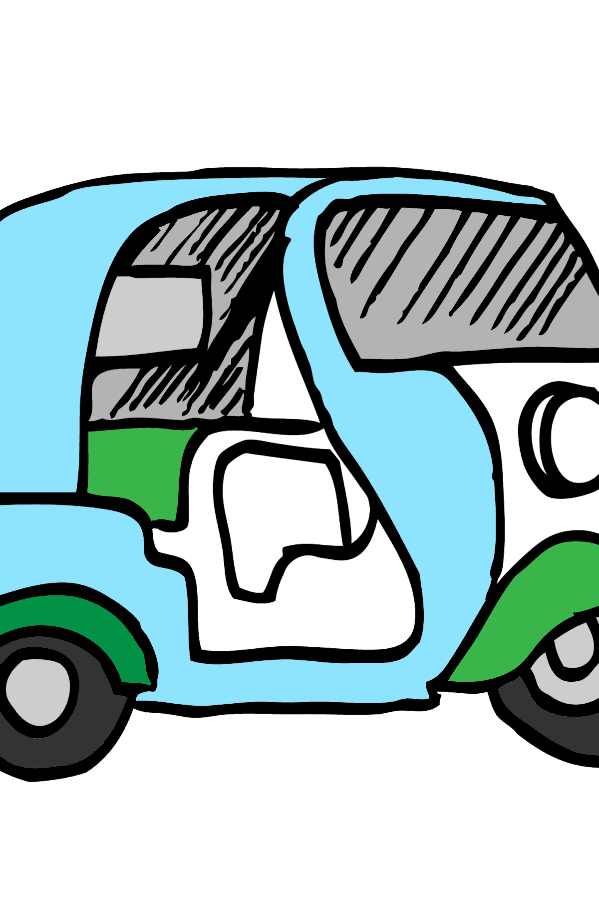 Coloring Page - A Moped is Carrying Mail - Coloring Pages for Kids