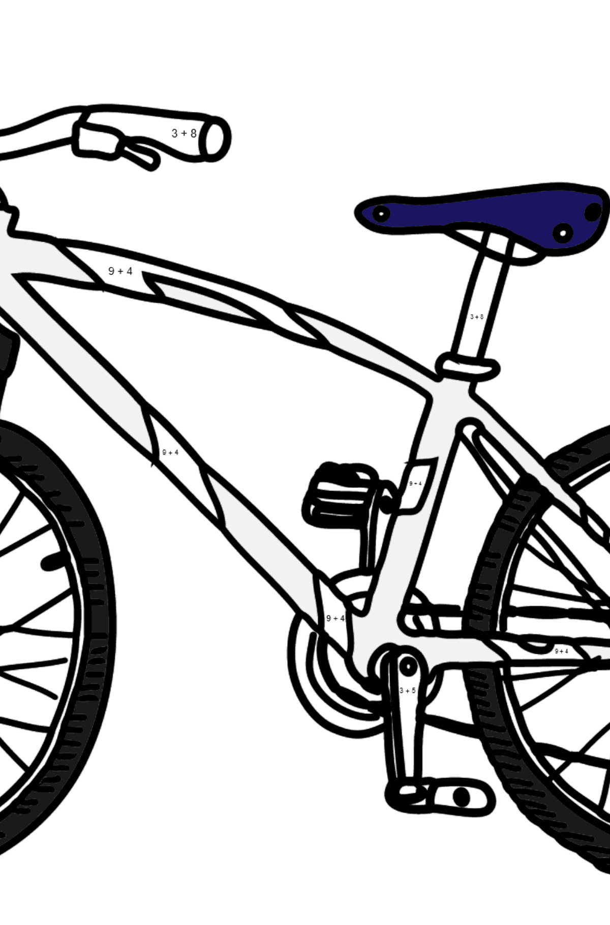 Coloring Page - A Sport Bike - Math Coloring - Addition for Kids