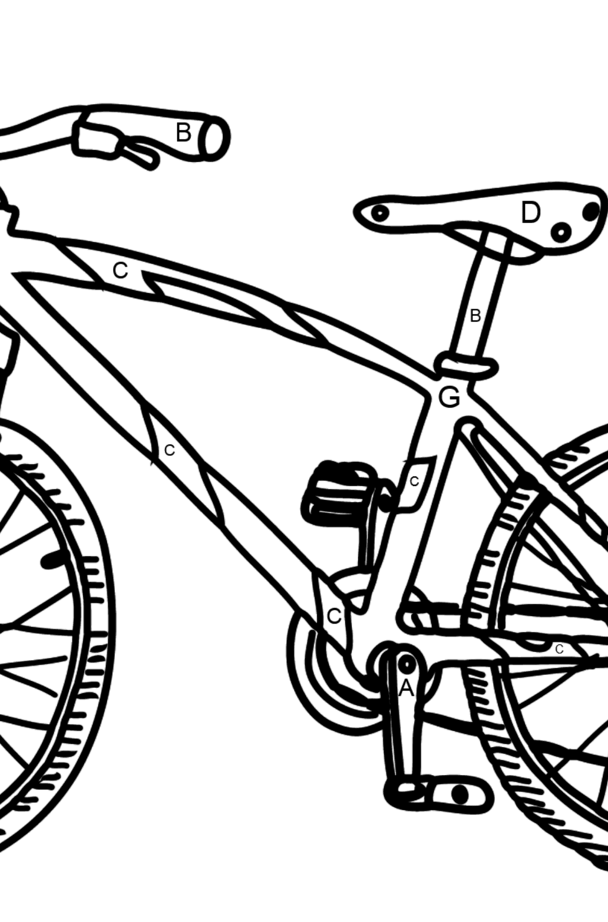 Coloring Page - A Sport Bike - Coloring by Letters for Kids