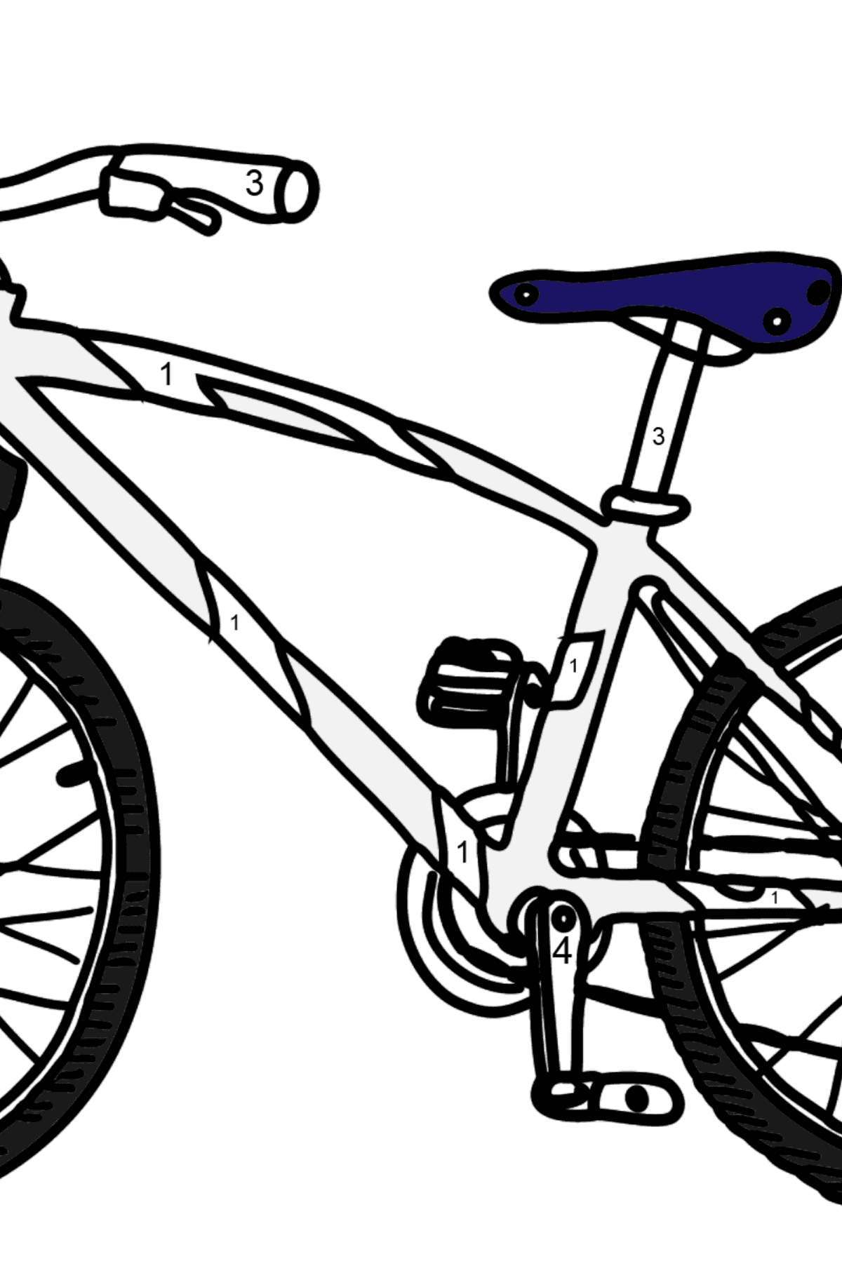 Coloring Page - A Sport Bike - Coloring by Numbers for Kids