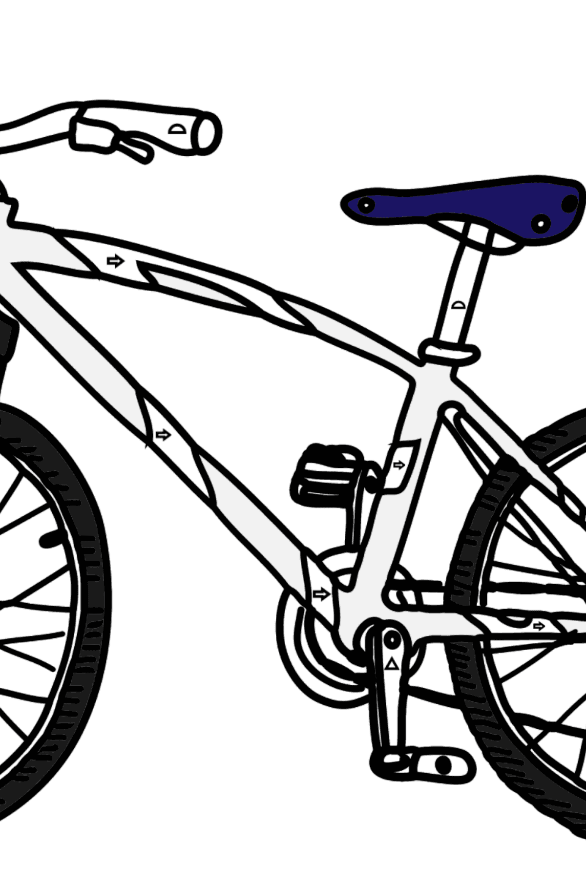 Coloring Page - A Sport Bike - Coloring by Geometric Shapes for Kids
