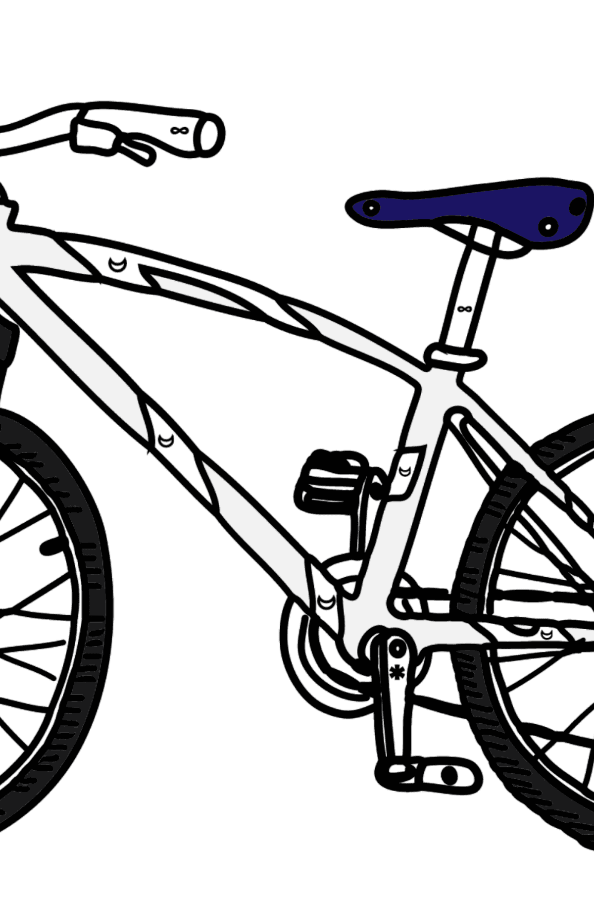 Coloring Page - A Sport Bike - Coloring by Symbols and Geometric Shapes for Kids