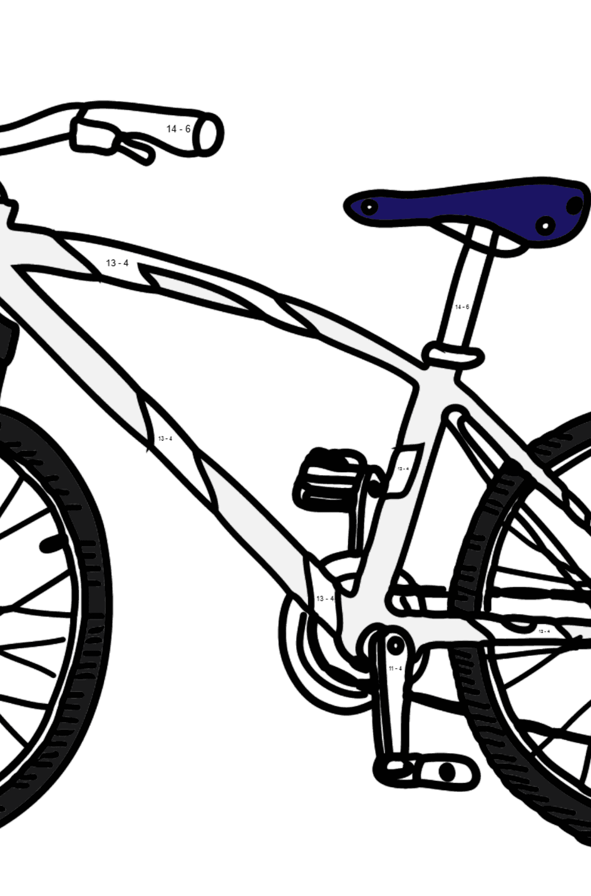 Coloring Page - A Sport Bike - Math Coloring - Subtraction for Kids