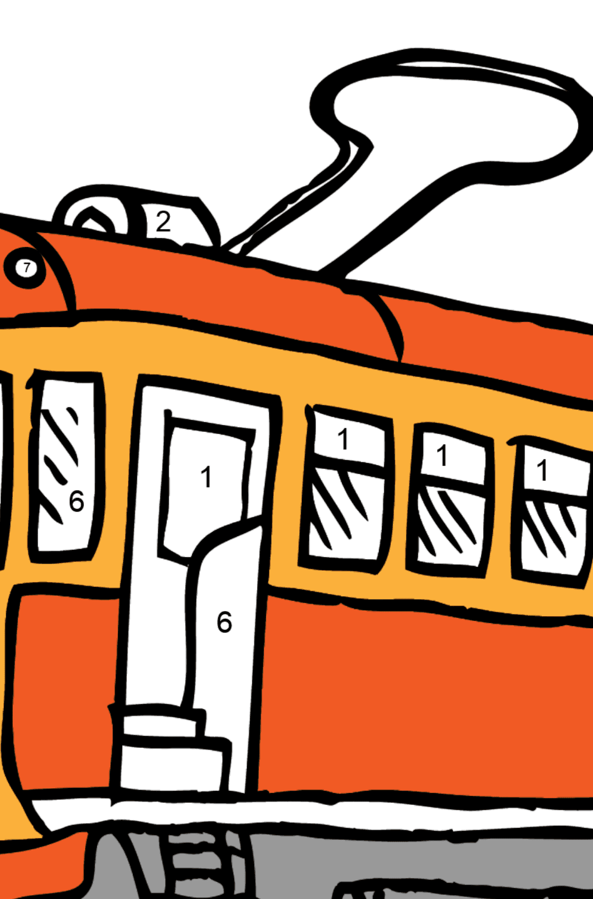 Simple Coloring Page - A Tram is Bored - Coloring by Numbers for Kids