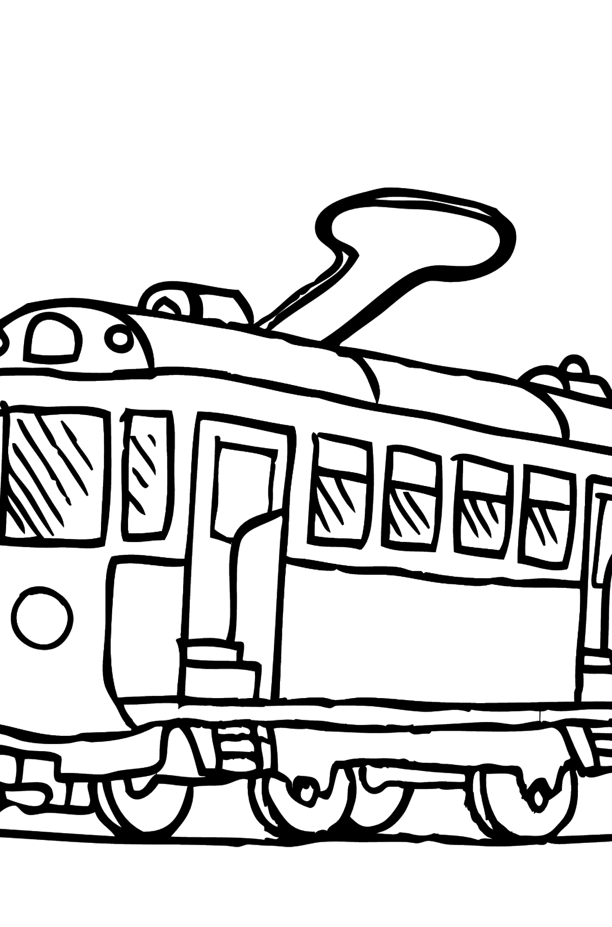 Simple Coloring Page - A Tram is Bored - Coloring Pages for Kids