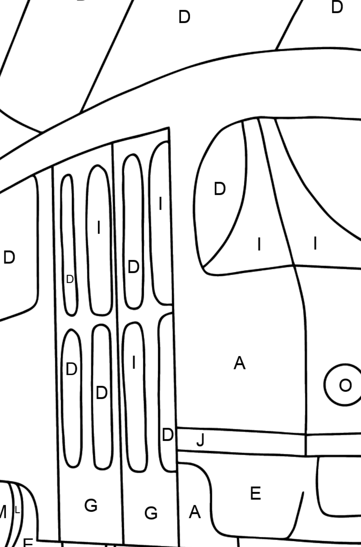 A Tram Coloring Page - Print fo free - Coloring by Letters for Kids