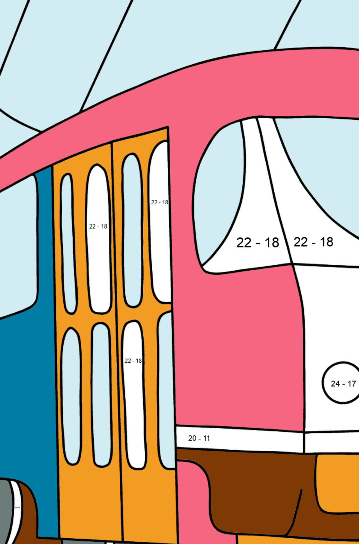 A Tram Coloring Page - Print fo free - Math Coloring - Subtraction for Kids