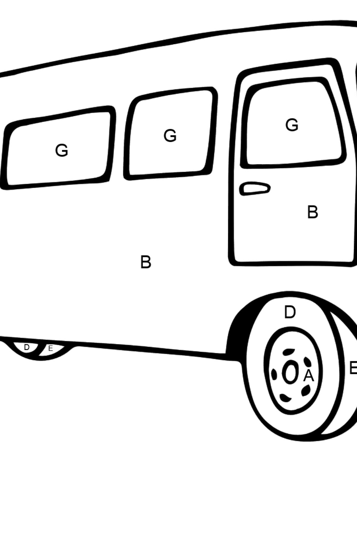 Coloring Page - A Traveling Bus - Coloring by Letters for Kids