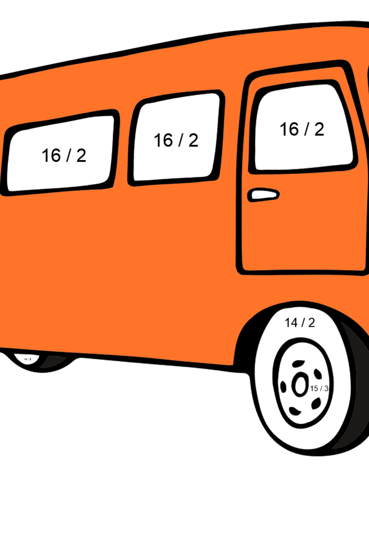 Coloring Page - A Traveling Bus - Math Coloring - Division for Kids
