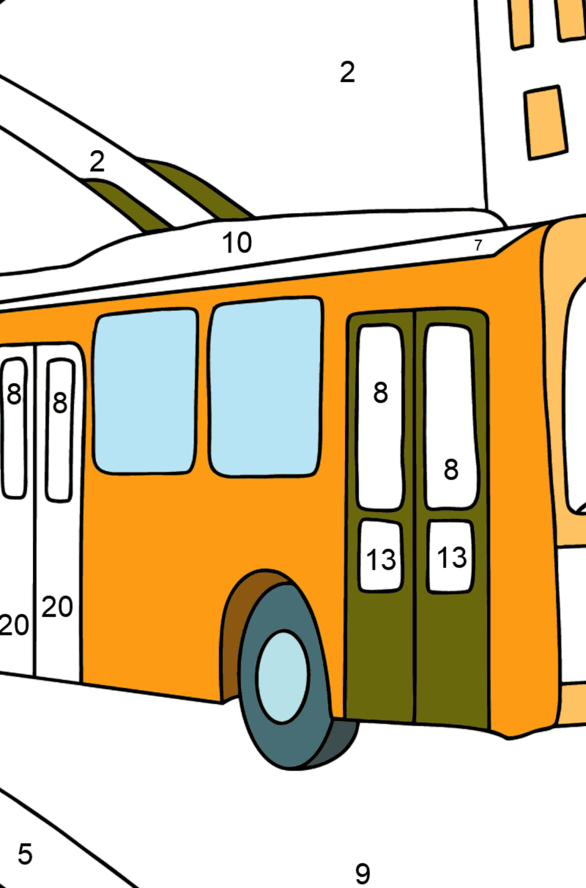 Сoloring page Trolley Bus - Coloring by Numbers for Kids