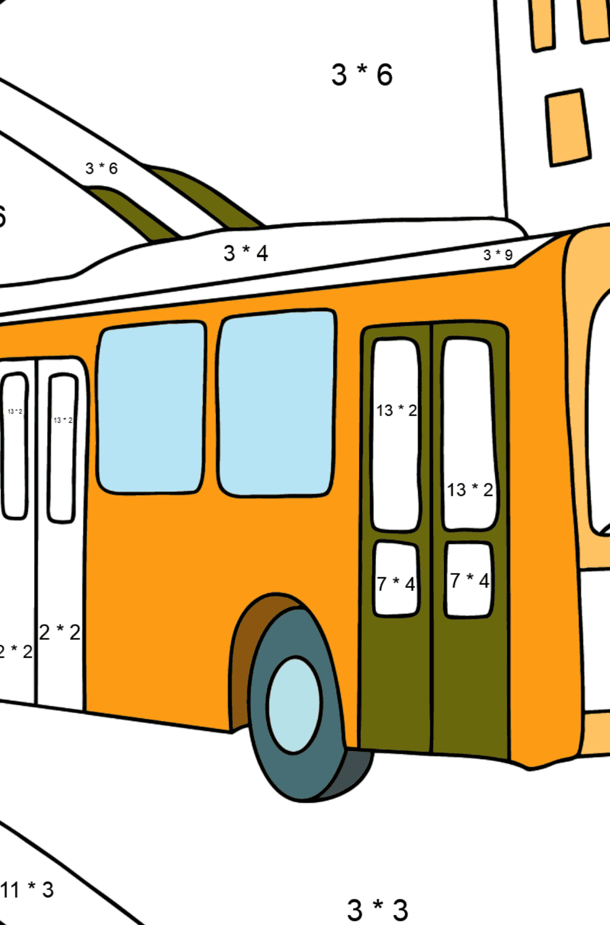 Сoloring page Trolley Bus - Math Coloring - Multiplication for Kids