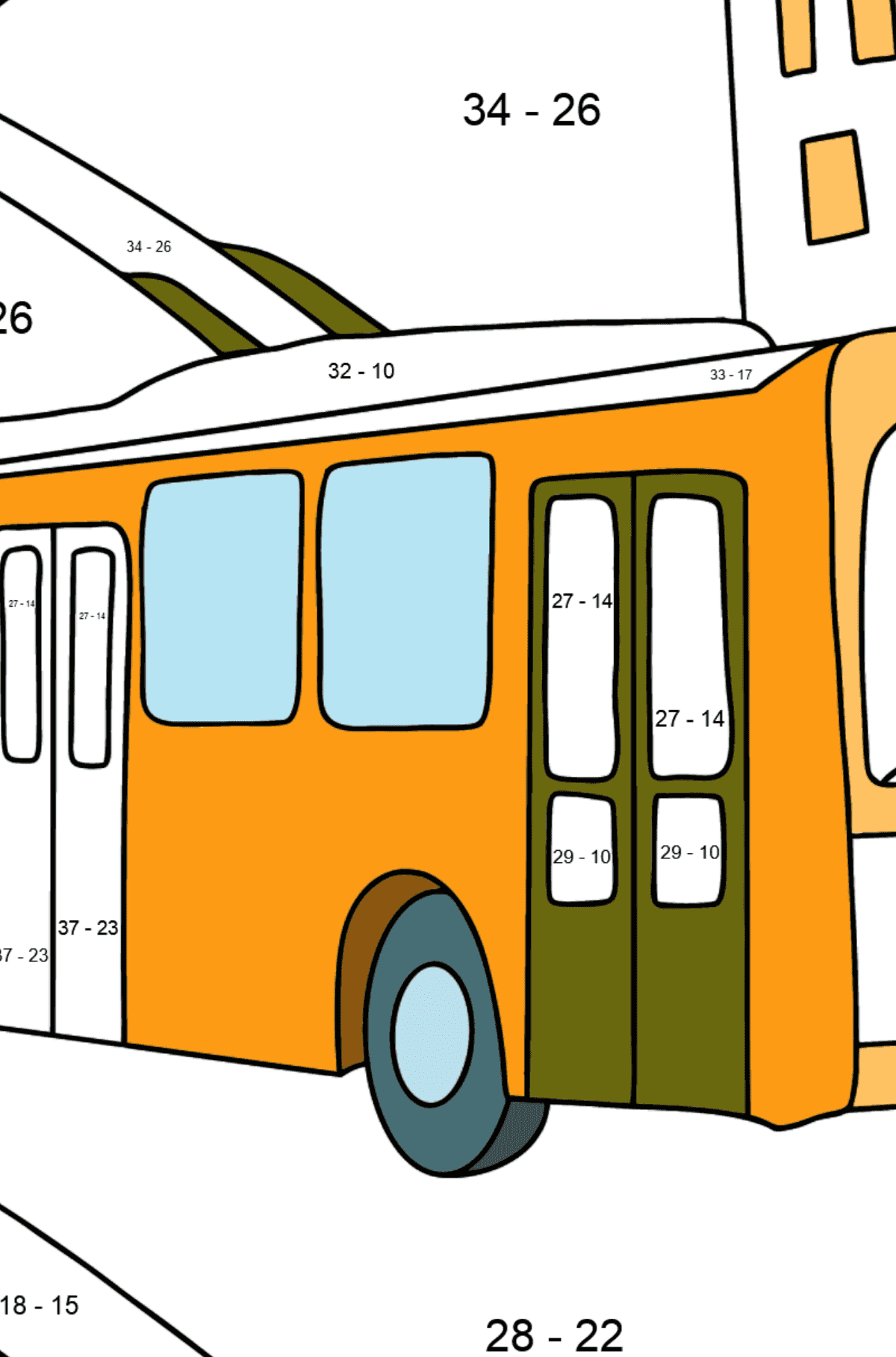 Сoloring page Trolley Bus - Math Coloring - Subtraction for Kids