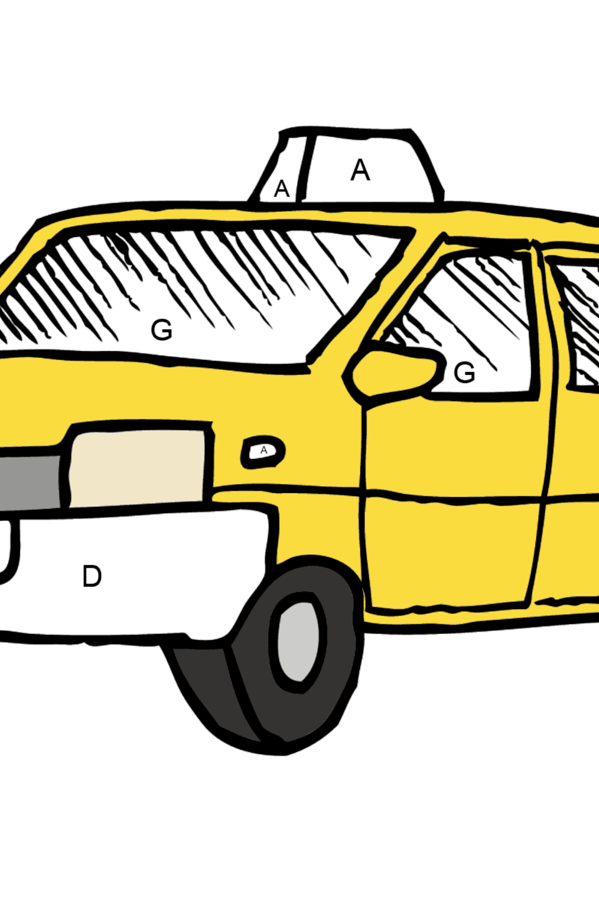 Coloring Page - A Yellow Taxi - Coloring by Letters for Kids