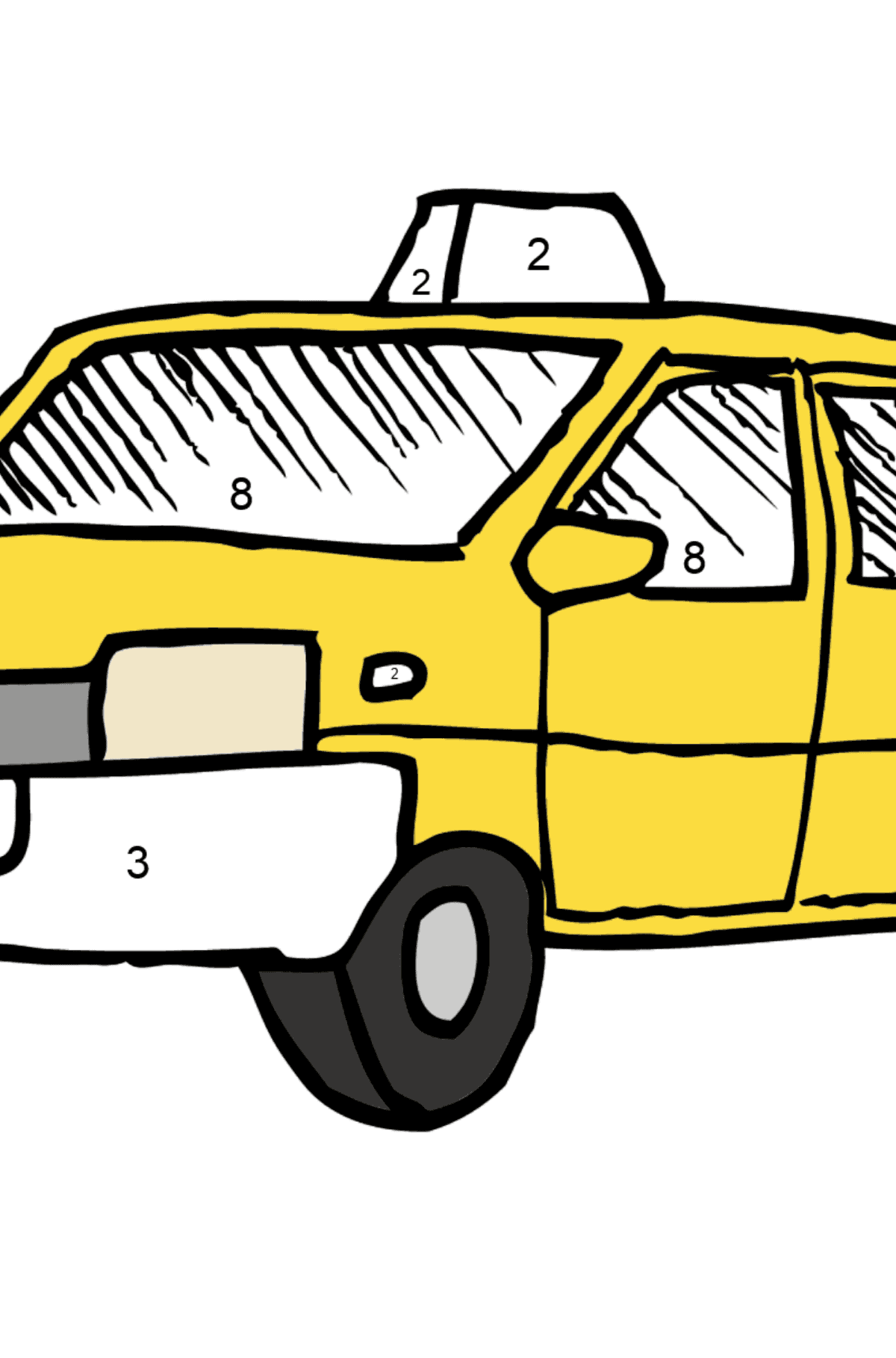 Coloring Page - A Yellow Taxi - Coloring by Numbers for Kids