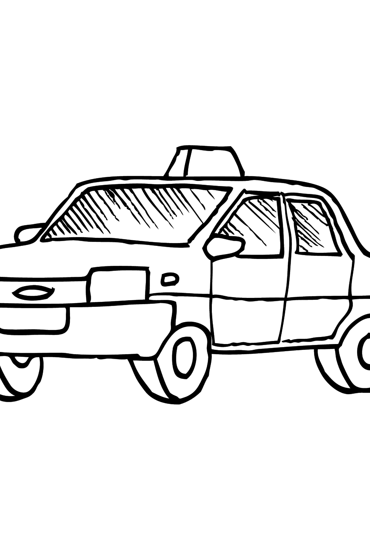 Coloring Page - A Yellow Taxi - Coloring Pages for Kids