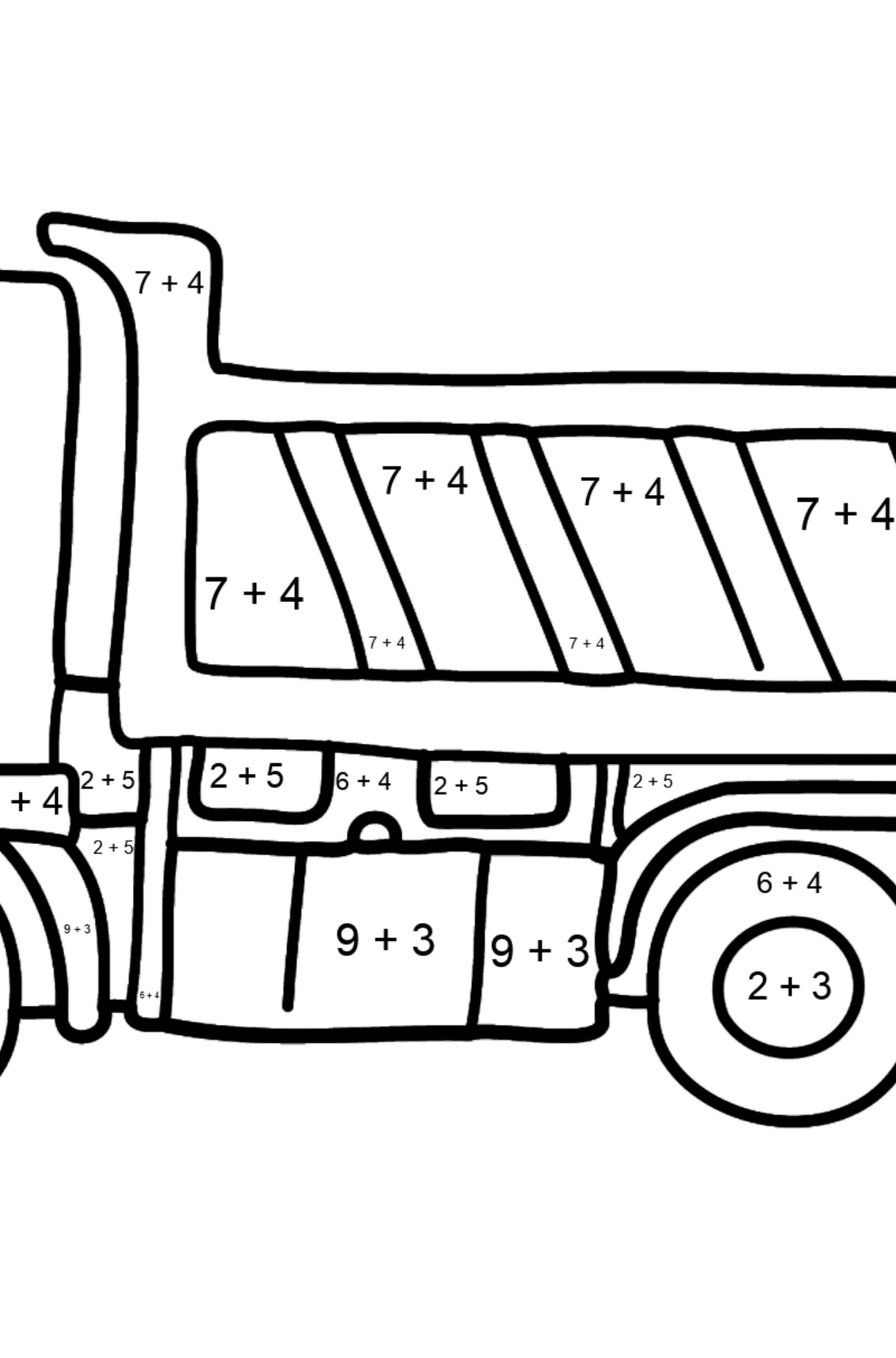 Coloring Page - A Dump Truck - Math Coloring - Addition for Kids