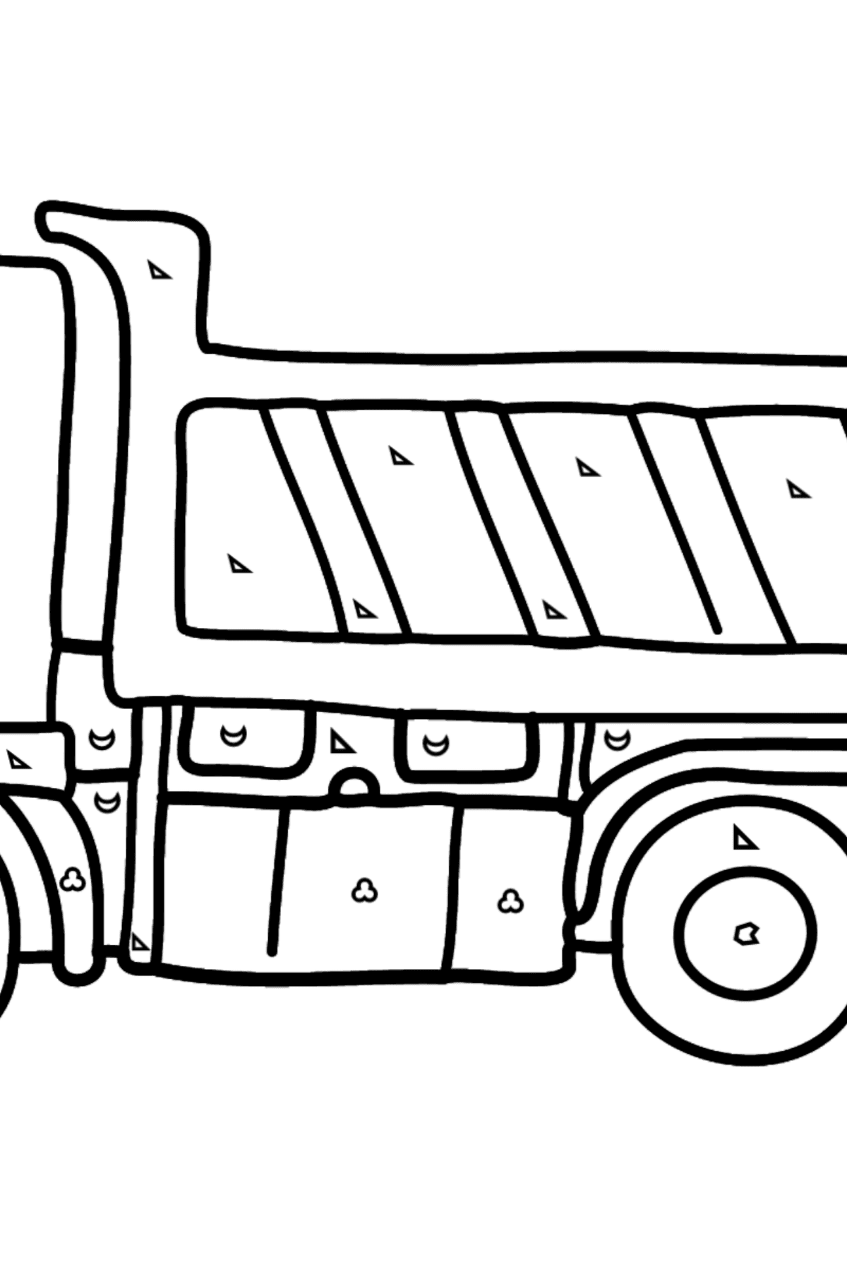 Coloring Page - A Dump Truck - Coloring by Geometric Shapes for Kids
