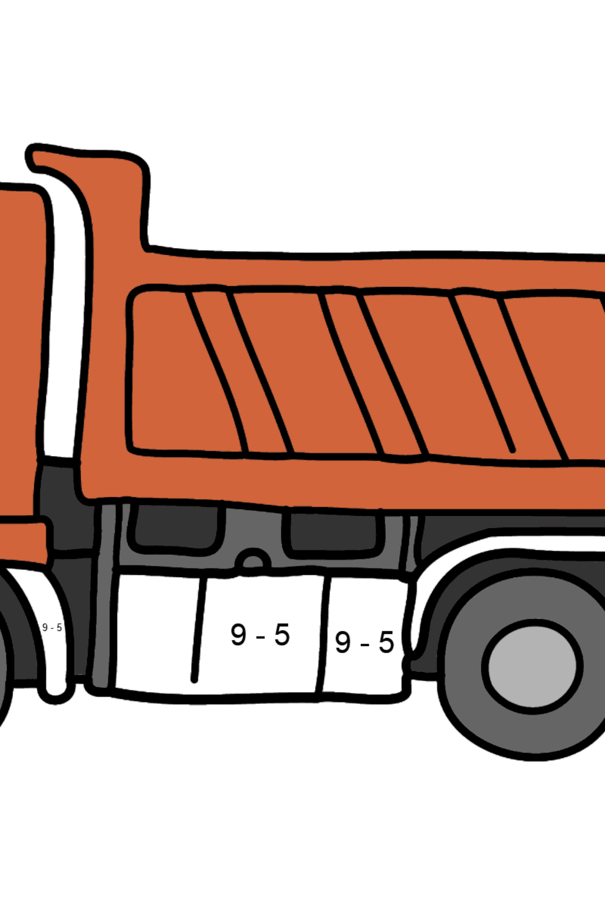 Coloring Page - A Dump Truck - Math Coloring - Subtraction for Kids